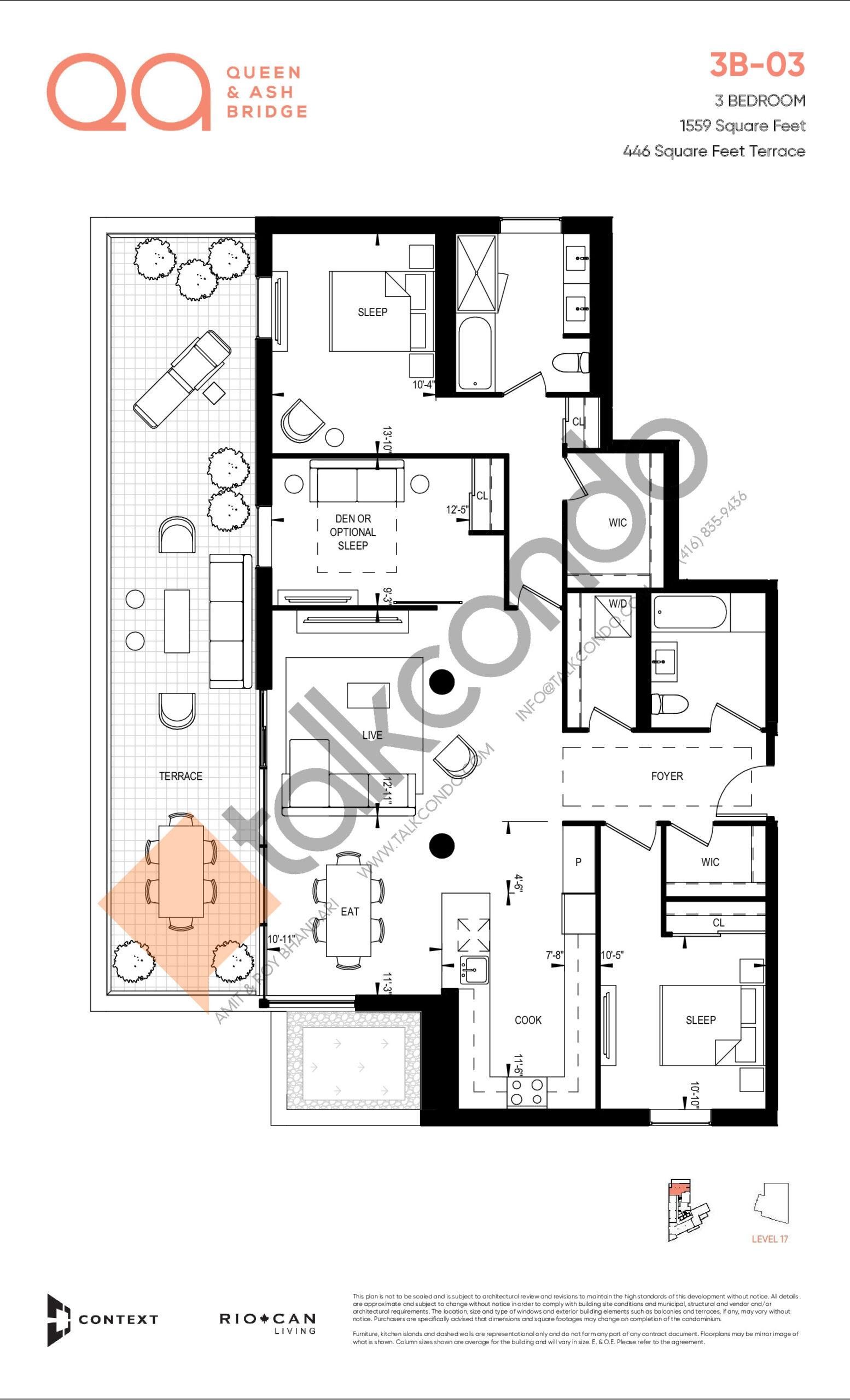 3B-03 Floor Plan at QA Condos - 1559 sq.ft