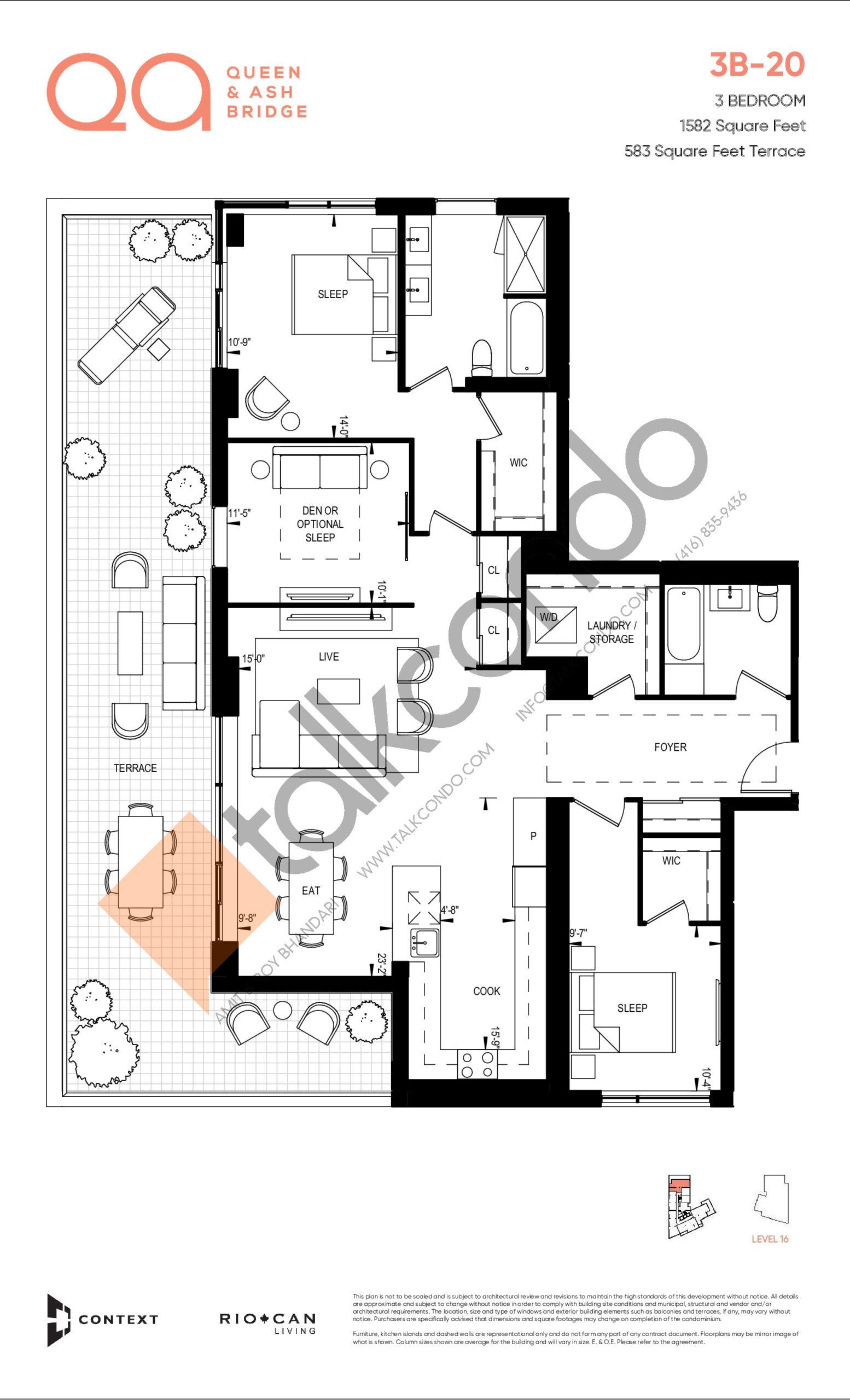 3B-20 Floor Plan at QA Condos - 1582 sq.ft