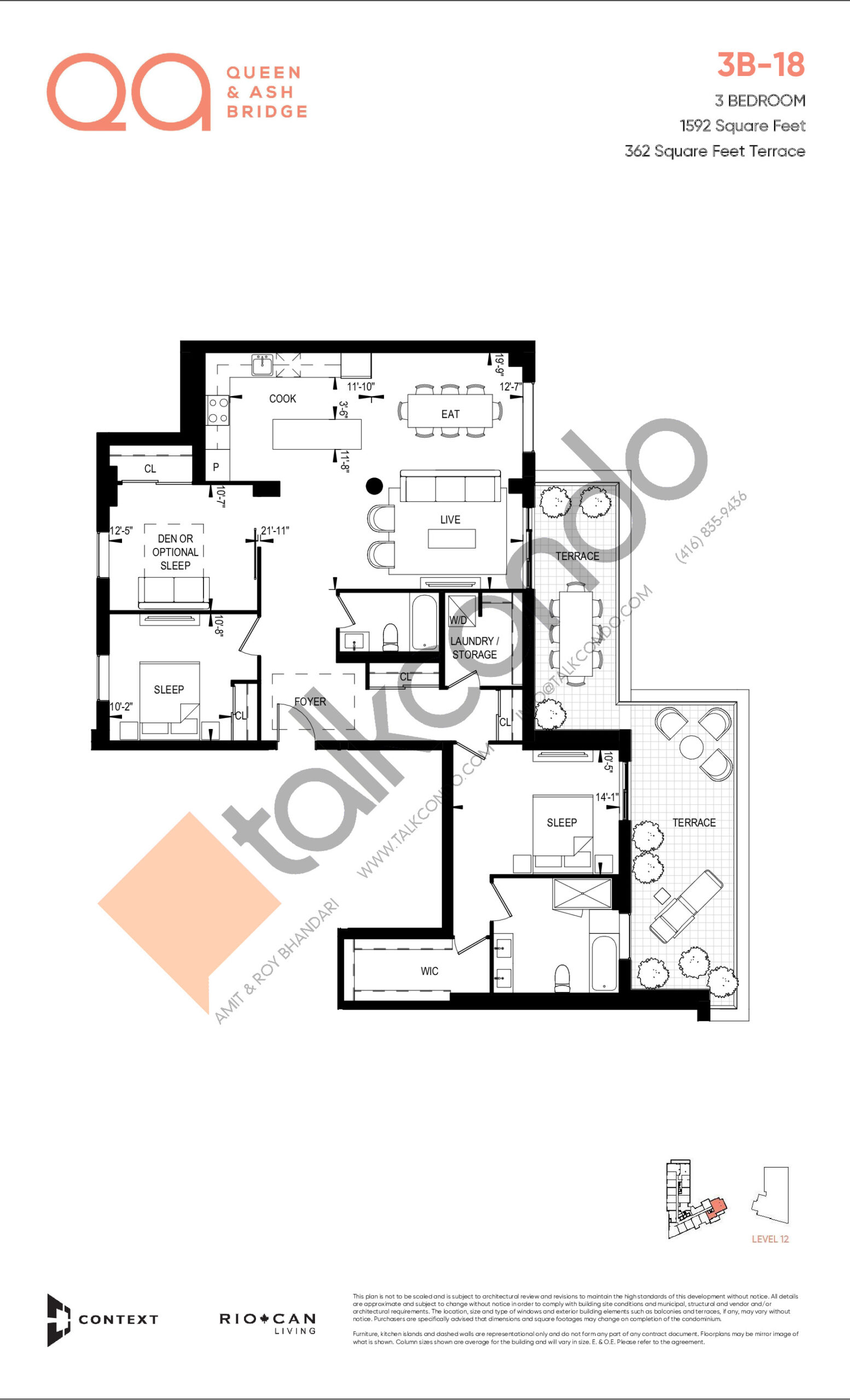 3B-18 Floor Plan at QA Condos - 1592 sq.ft