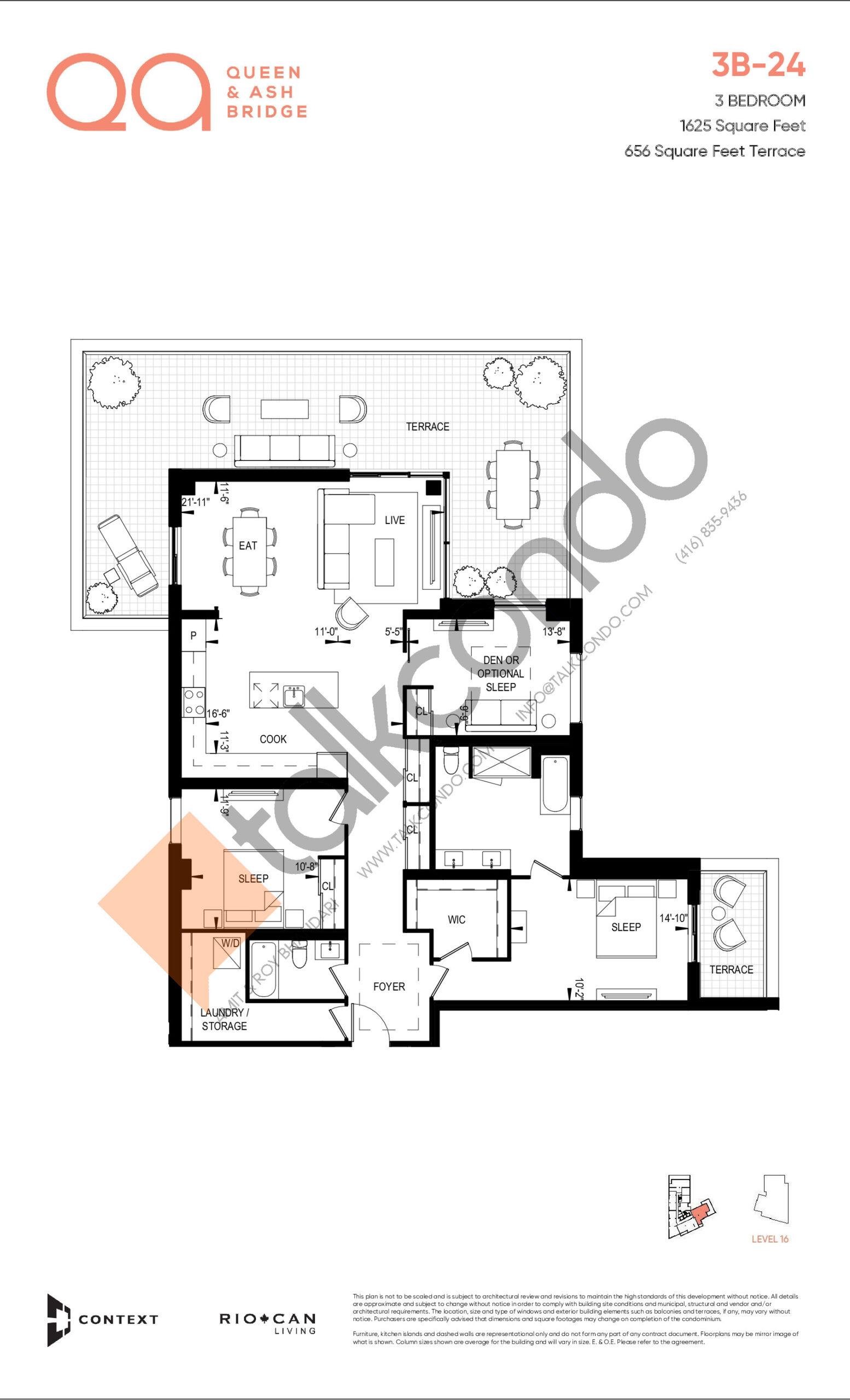 3B-24 Floor Plan at QA Condos - 1625 sq.ft