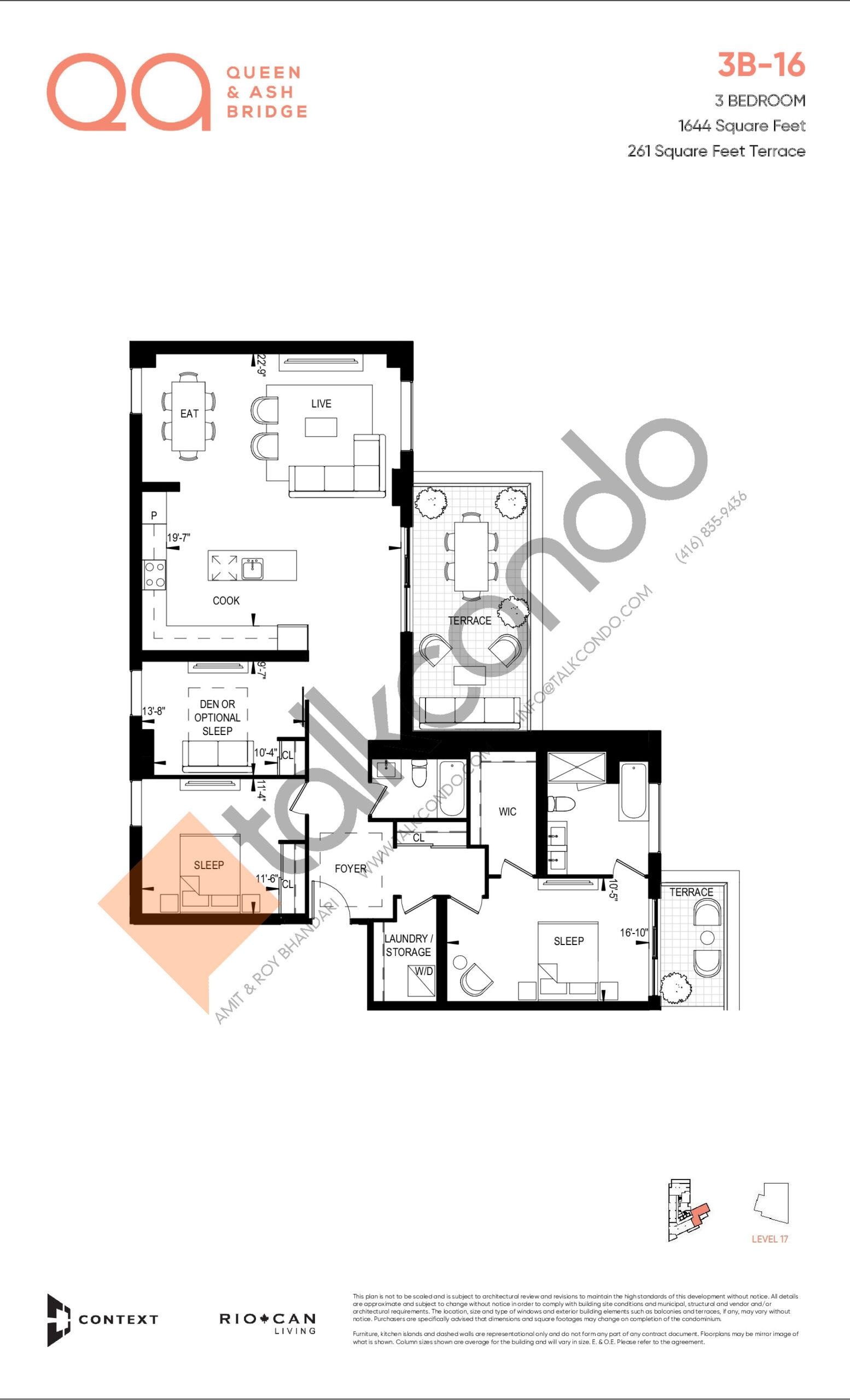 3B-16 Floor Plan at QA Condos - 1644 sq.ft