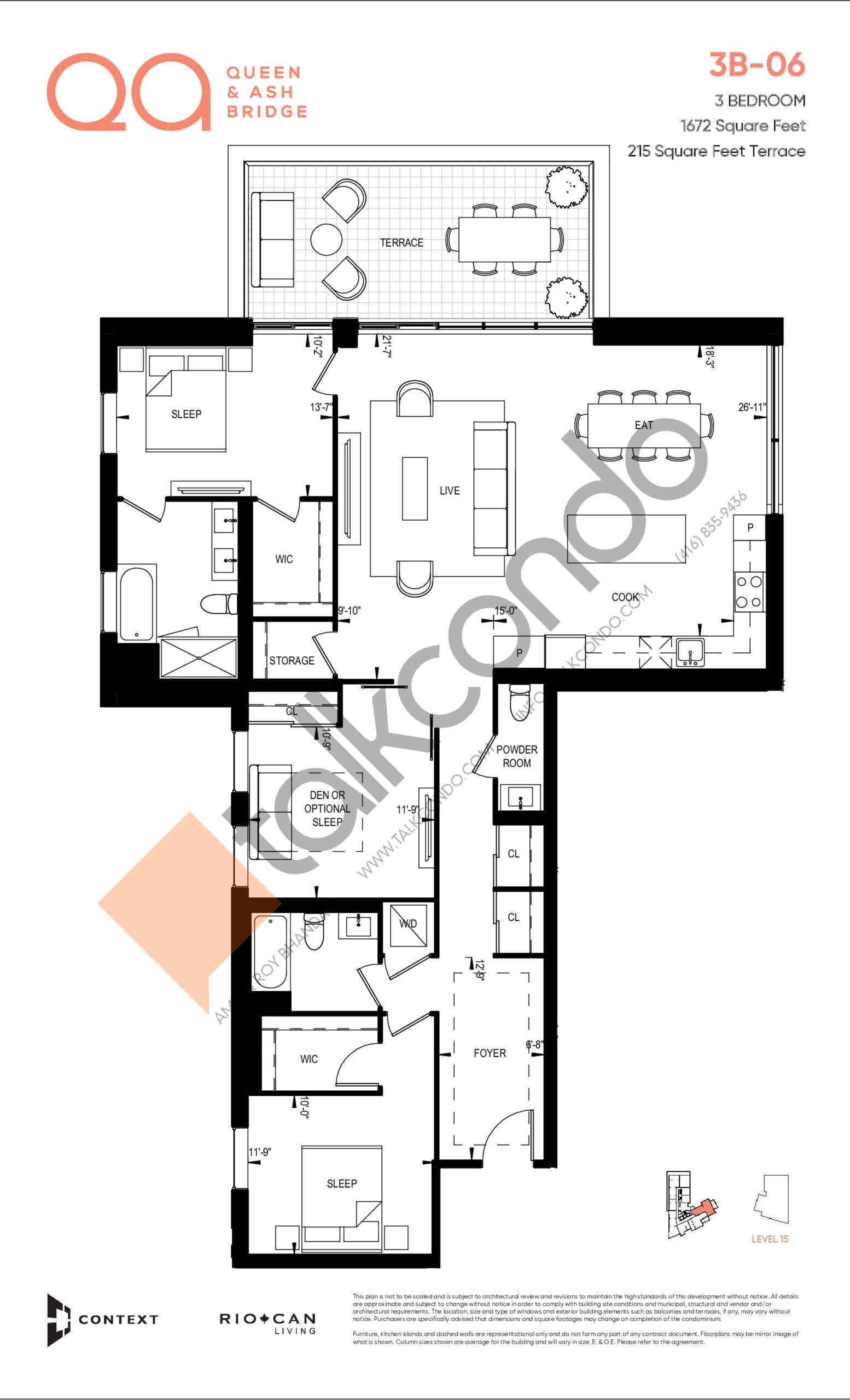 3B-06 Floor Plan at QA Condos - 1672 sq.ft