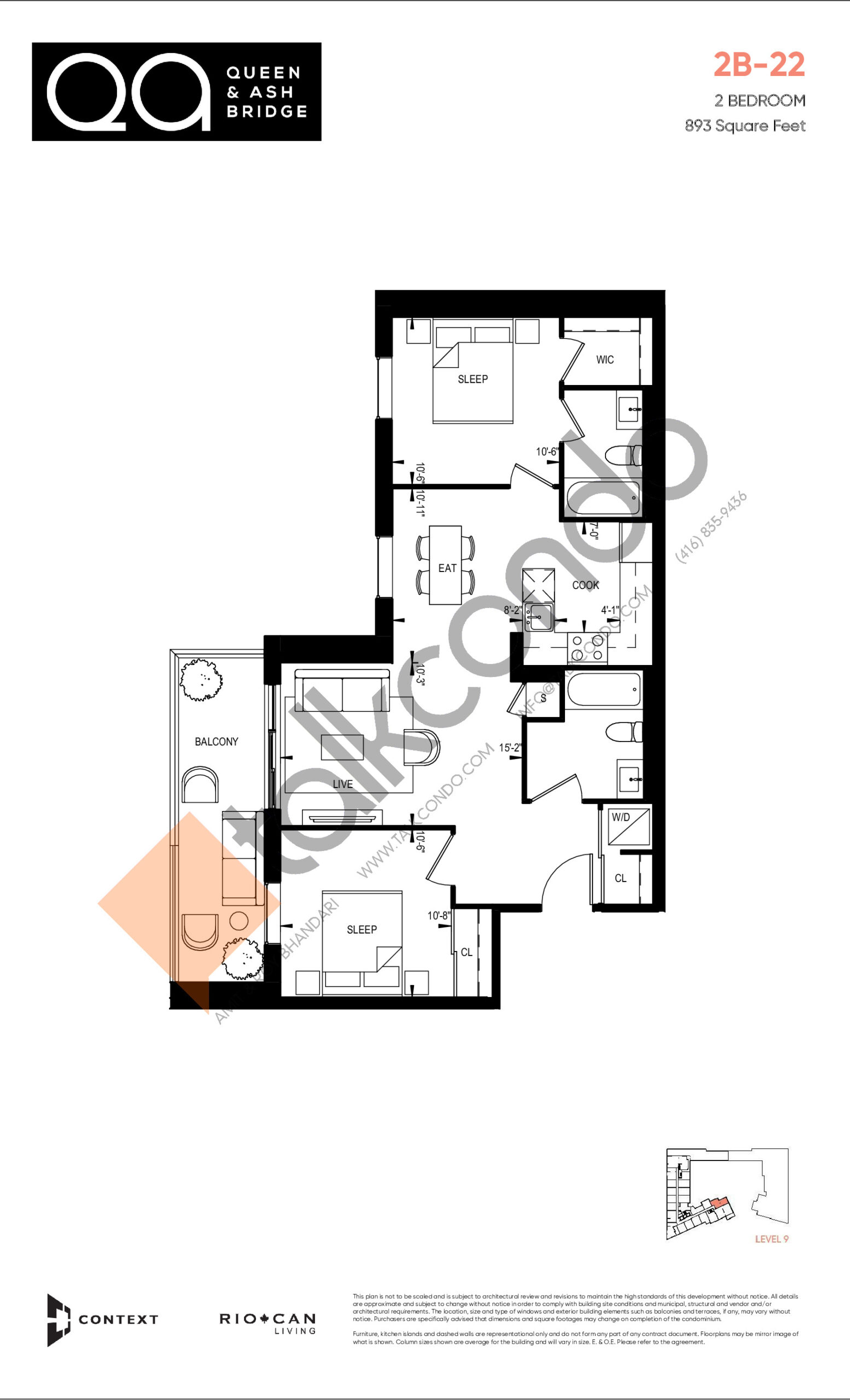 2B-22 Floor Plan at QA Condos - 893 sq.ft