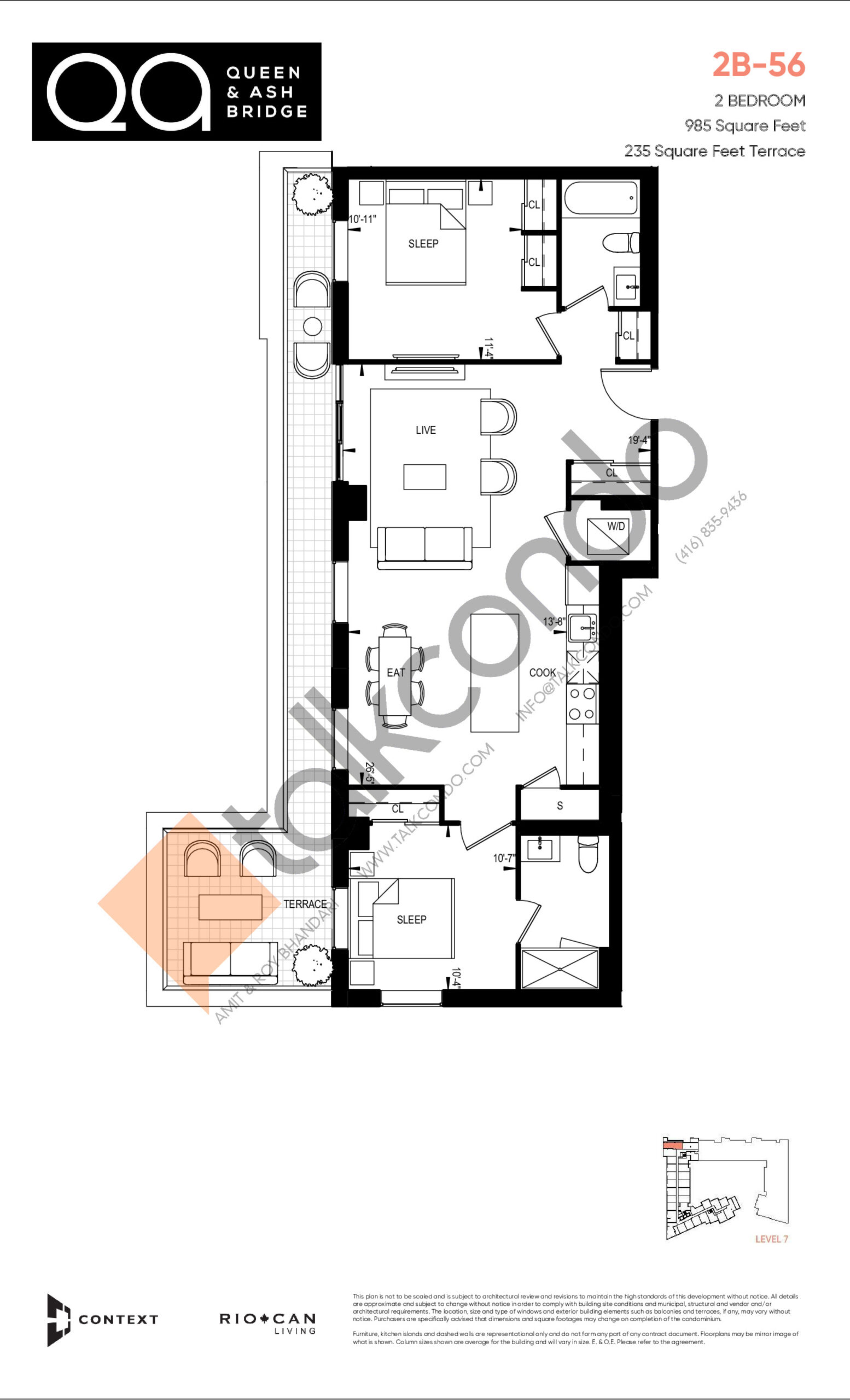 2B-56 (Ashbridge Collection) Floor Plan at QA Condos - 985 sq.ft