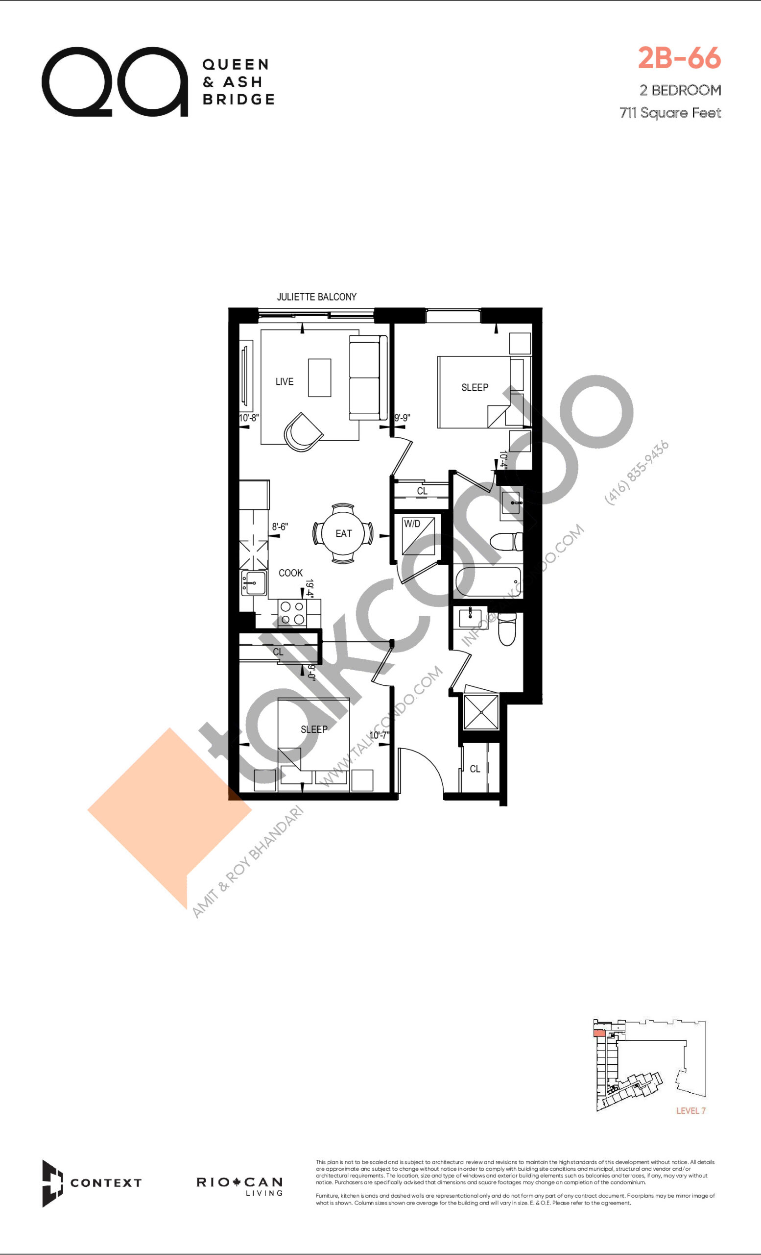 2B-66 (Queen Collection) Floor Plan at QA Condos - 711 sq.ft
