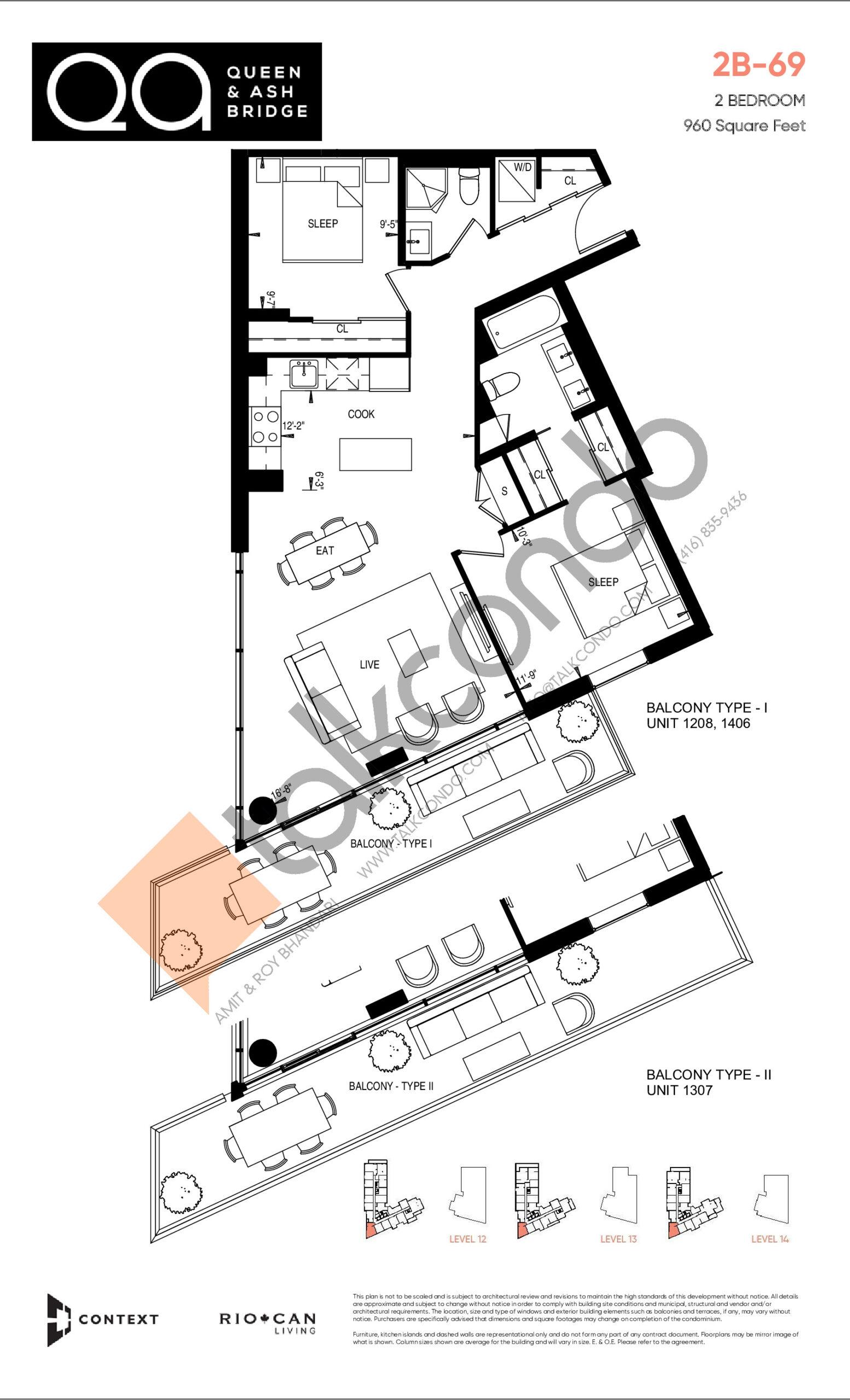 2B-69 Floor Plan at QA Condos - 960 sq.ft