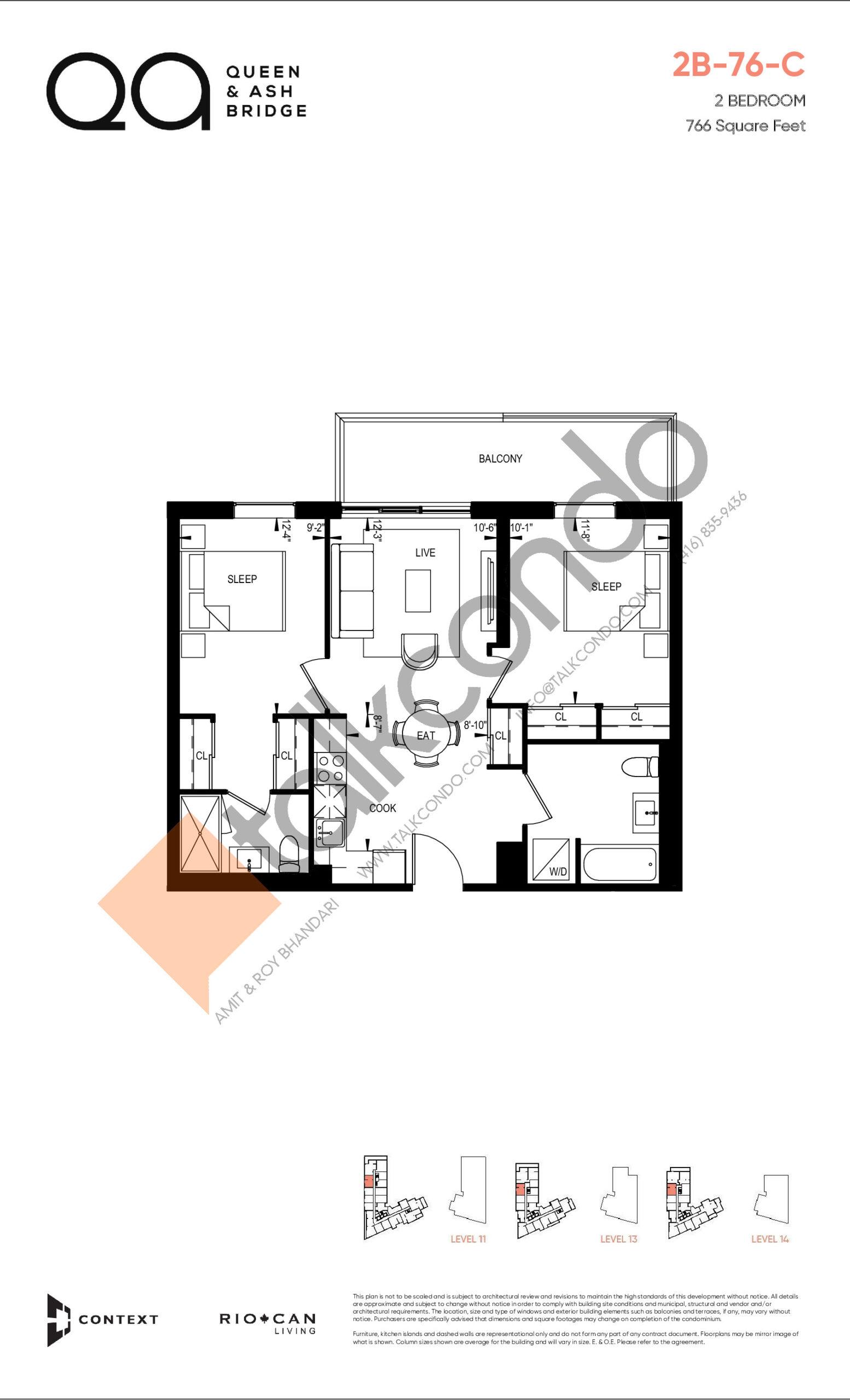 2B-76-C Floor Plan at QA Condos - 766 sq.ft