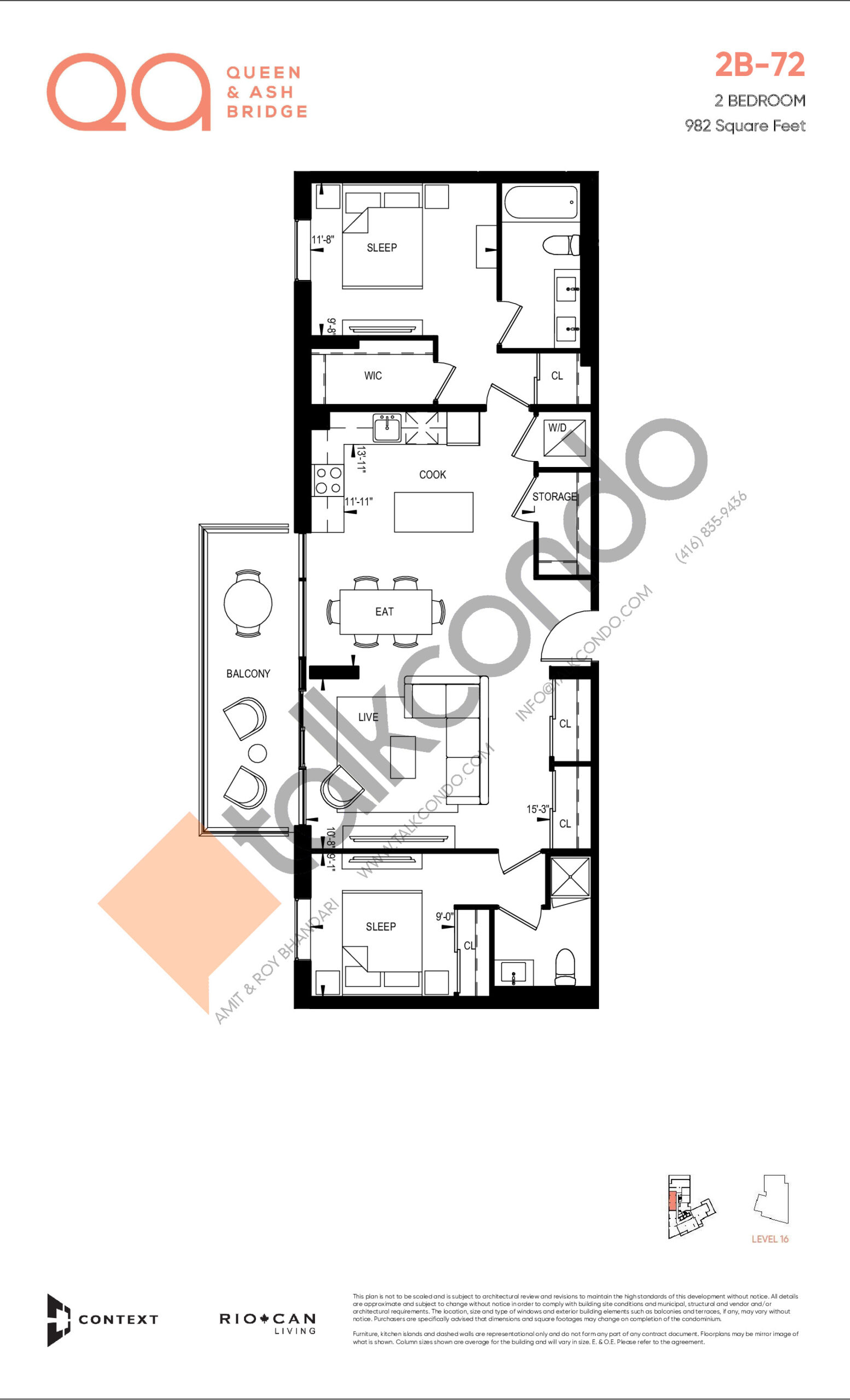 2B-72 Floor Plan at QA Condos - 982 sq.ft
