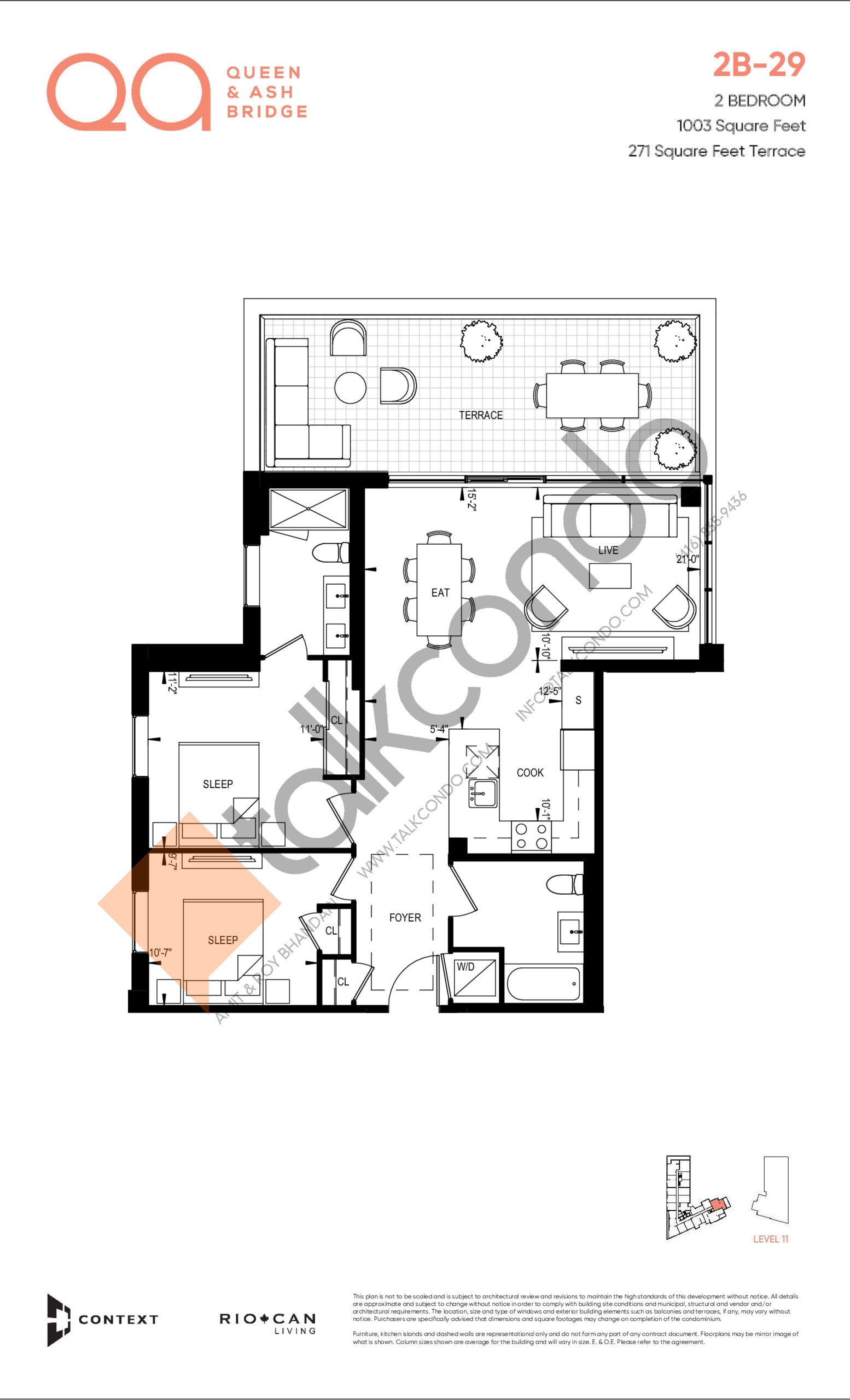 2B-29 Floor Plan at QA Condos - 1003 sq.ft