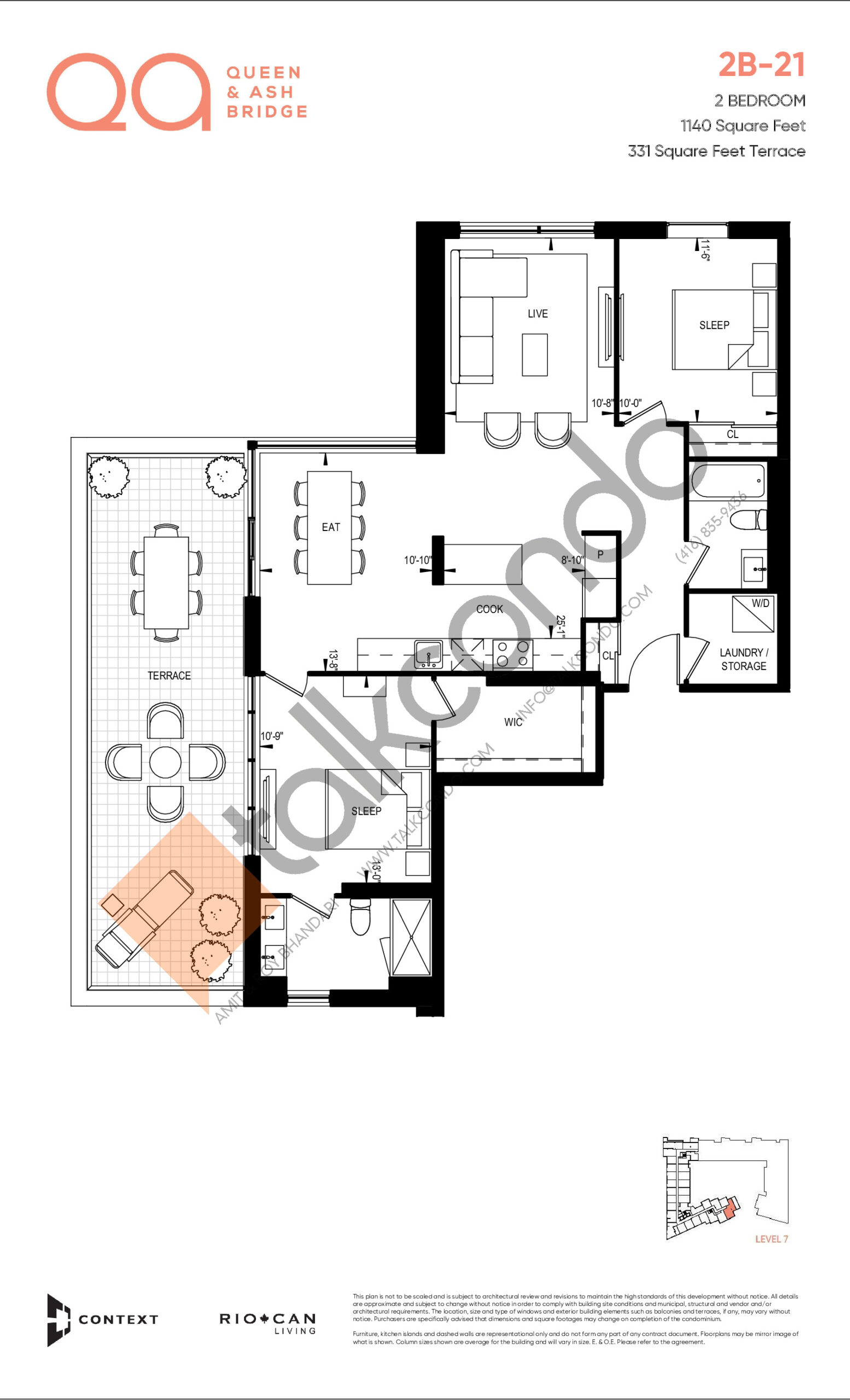 2B-21 Floor Plan at QA Condos - 1140 sq.ft