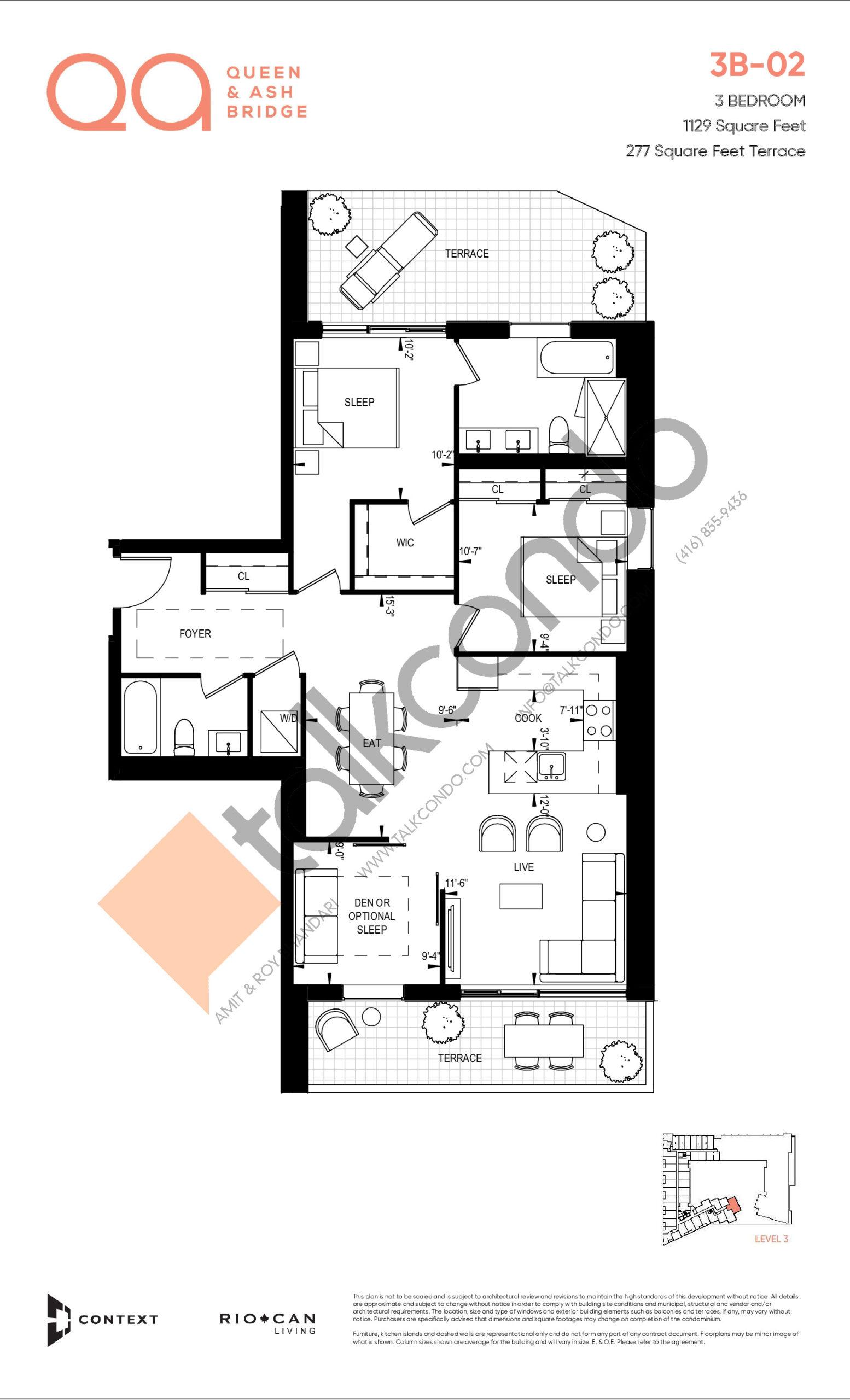 3B-02 Floor Plan at QA Condos - 1129 sq.ft