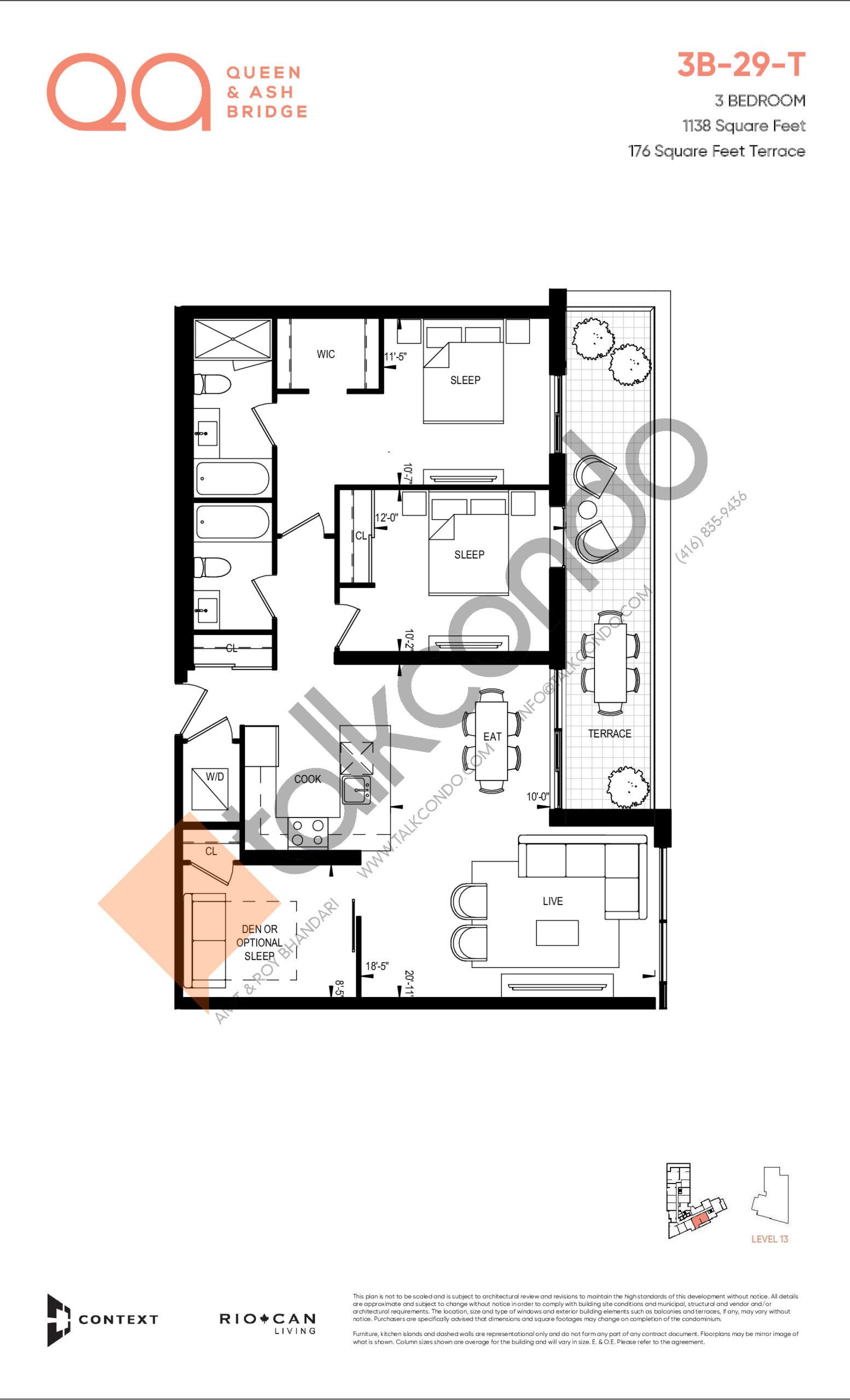3B-29-T Floor Plan at QA Condos - 1138 sq.ft