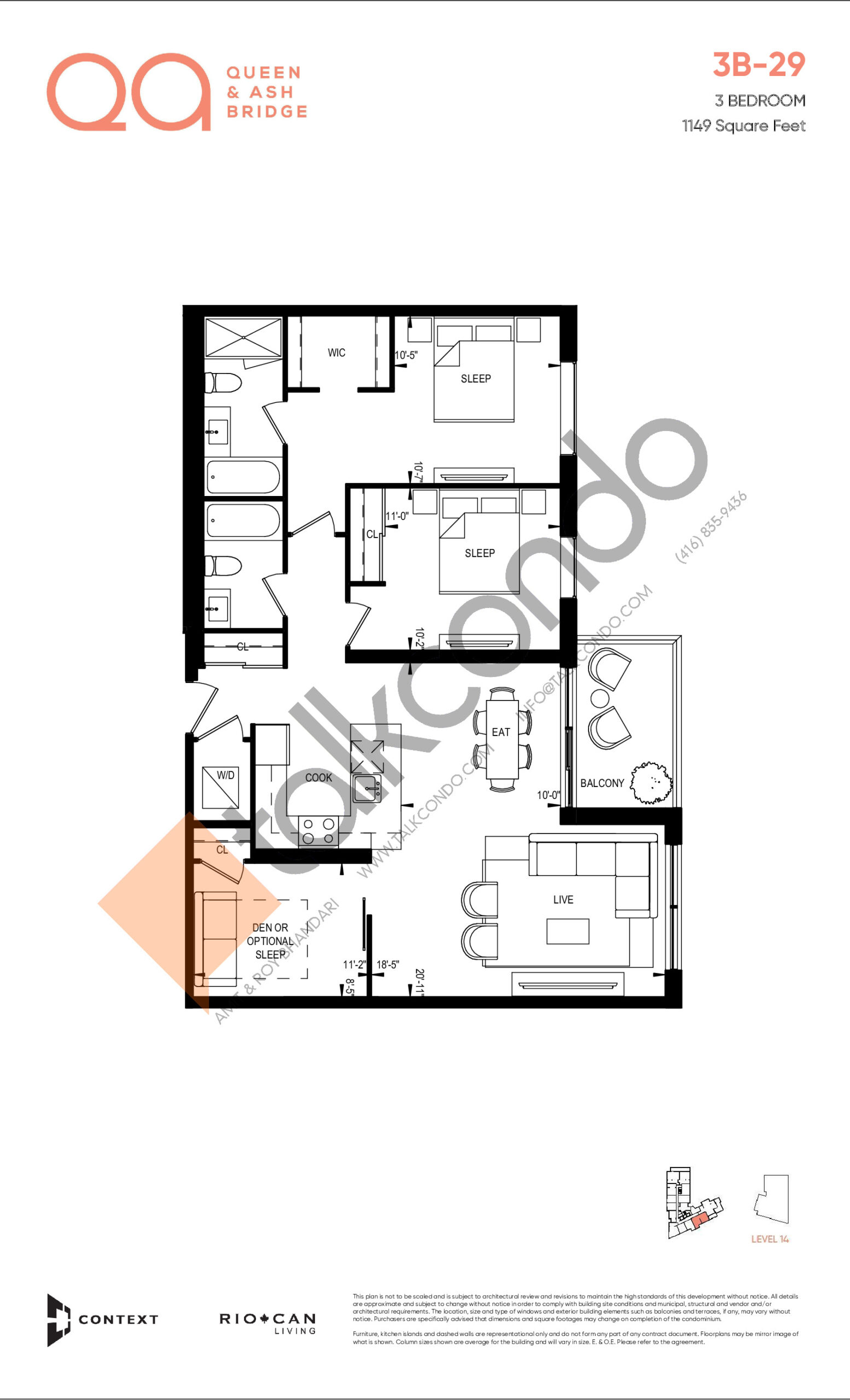 3B-29 Floor Plan at QA Condos - 1149 sq.ft