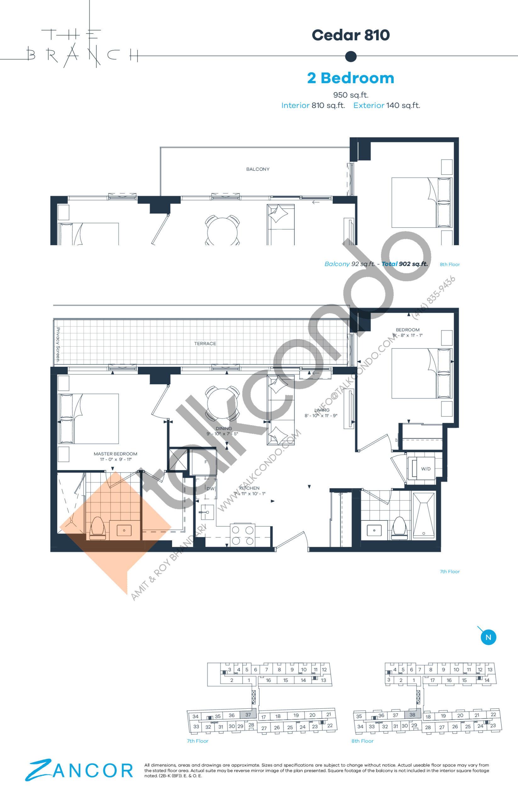 Cedar 810 Floor Plan at The Branch Condos - 810 sq.ft