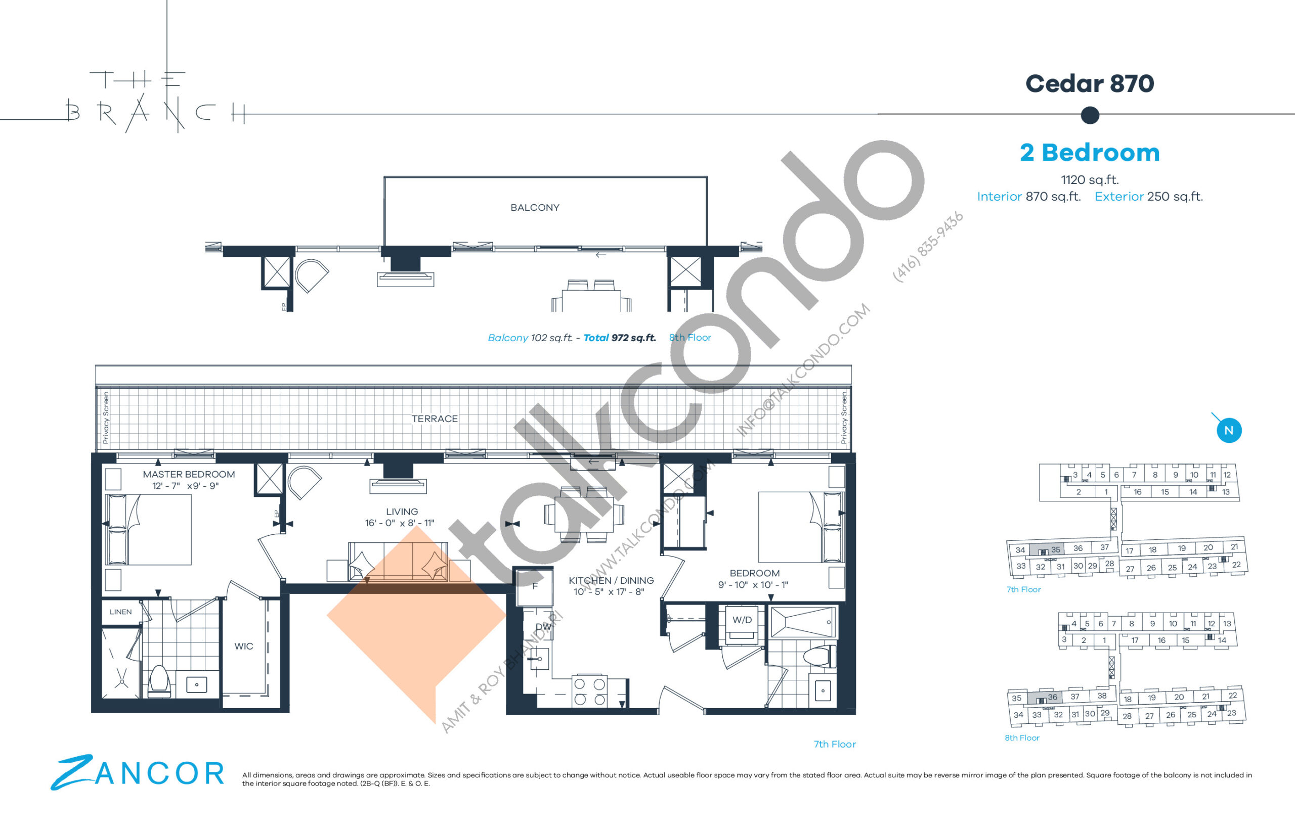 Cedar 870 Floor Plan at The Branch Condos - 870 sq.ft