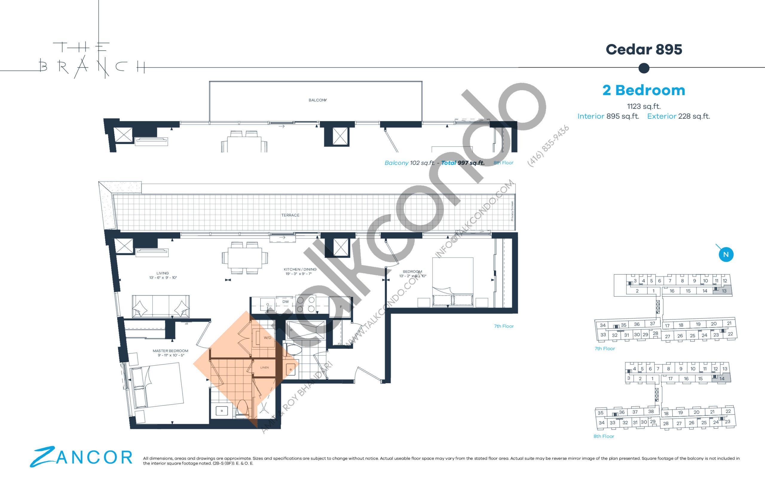 Cedar 895 Floor Plan at The Branch Condos - 895 sq.ft