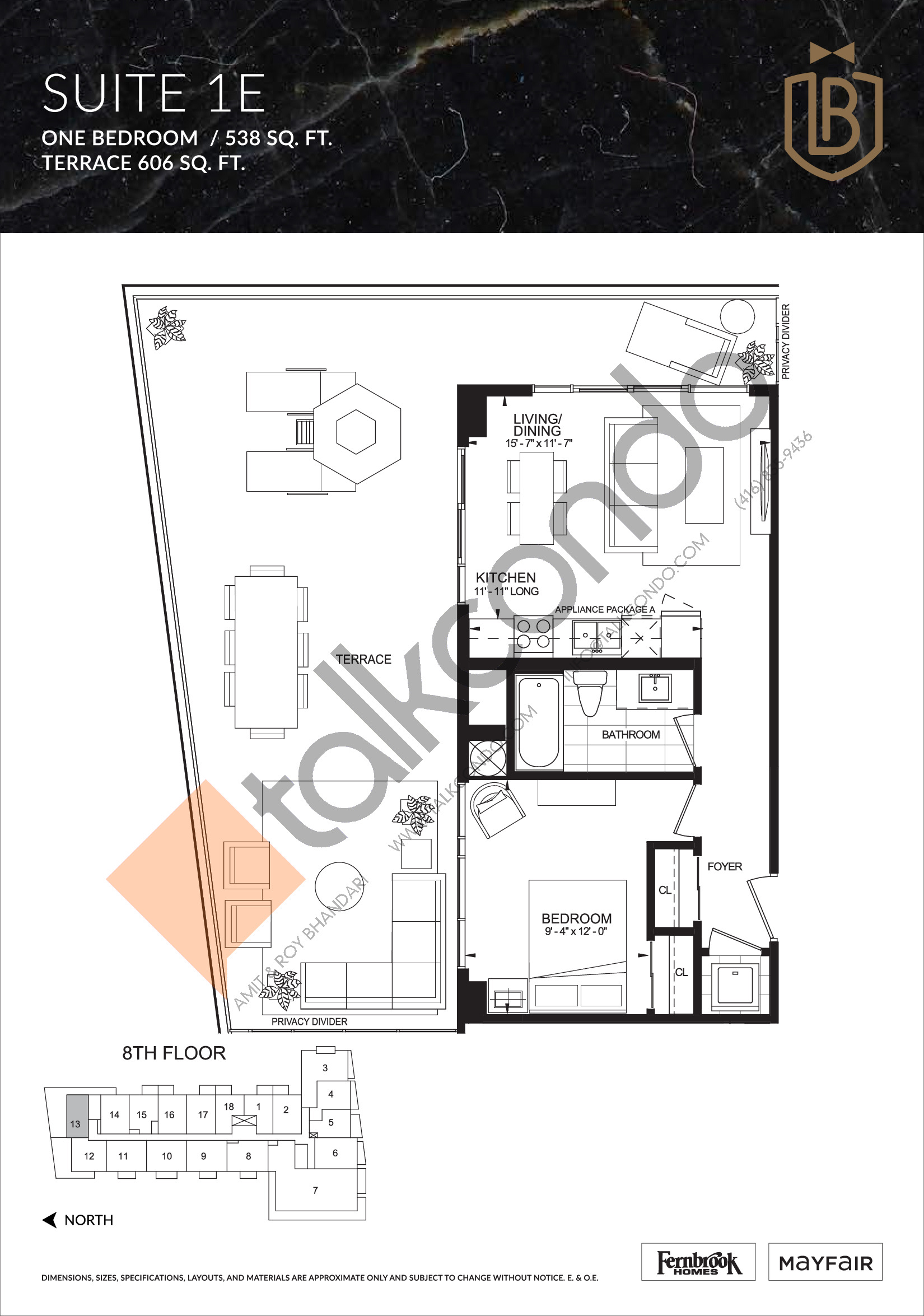 Suite 1E (Terrace) Floor Plan at The Butler Condos - 538 sq.ft