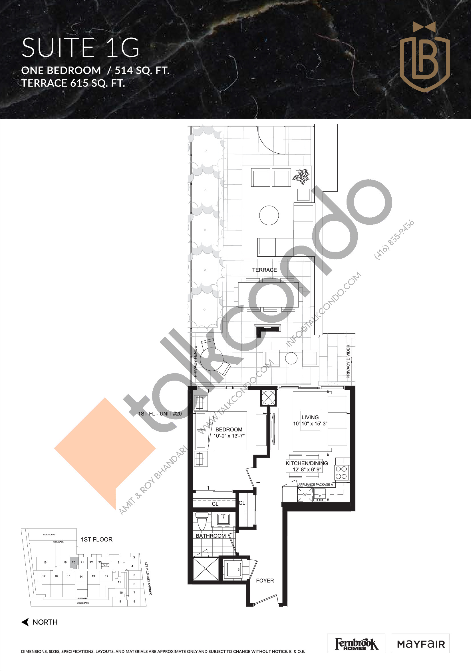 Suite 1G (Terrace) Floor Plan at The Butler Condos - 514 sq.ft
