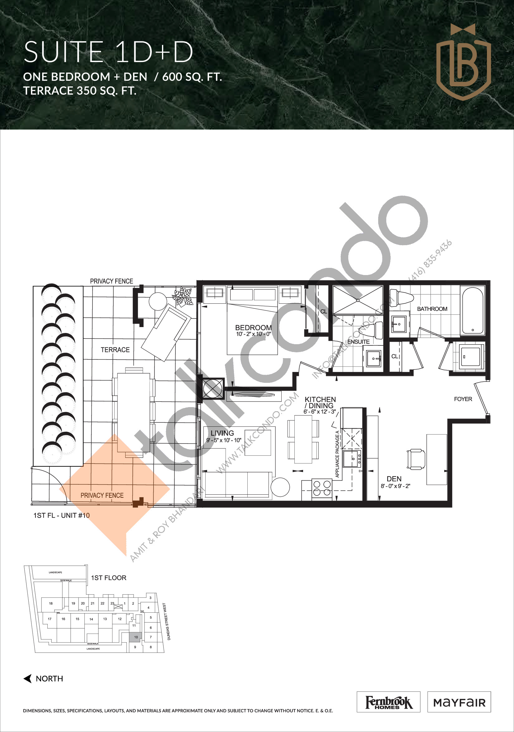 Suite 1D+D (Terrace) Floor Plan at The Butler Condos - 600 sq.ft