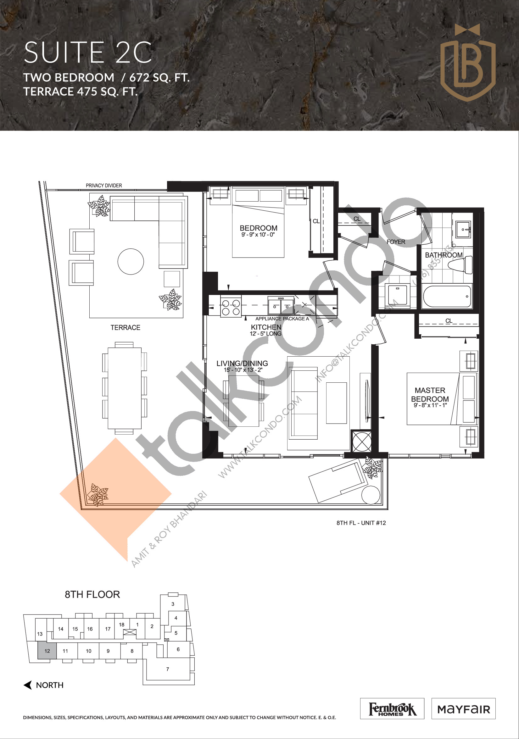 Suite 2C (Terrace) Floor Plan at The Butler Condos - 672 sq.ft