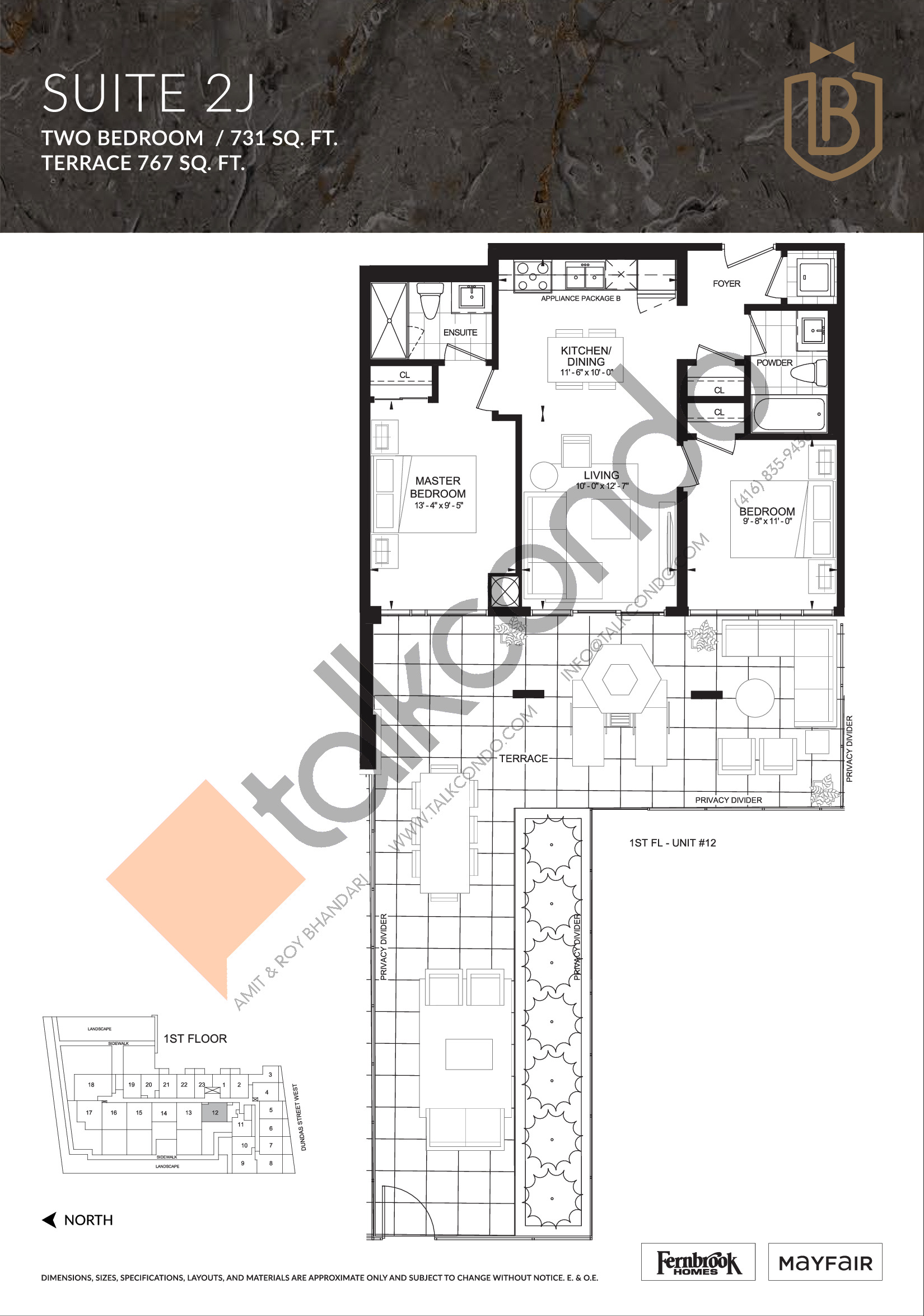 Suite 2J (Terrace) Floor Plan at The Butler Condos - 731 sq.ft