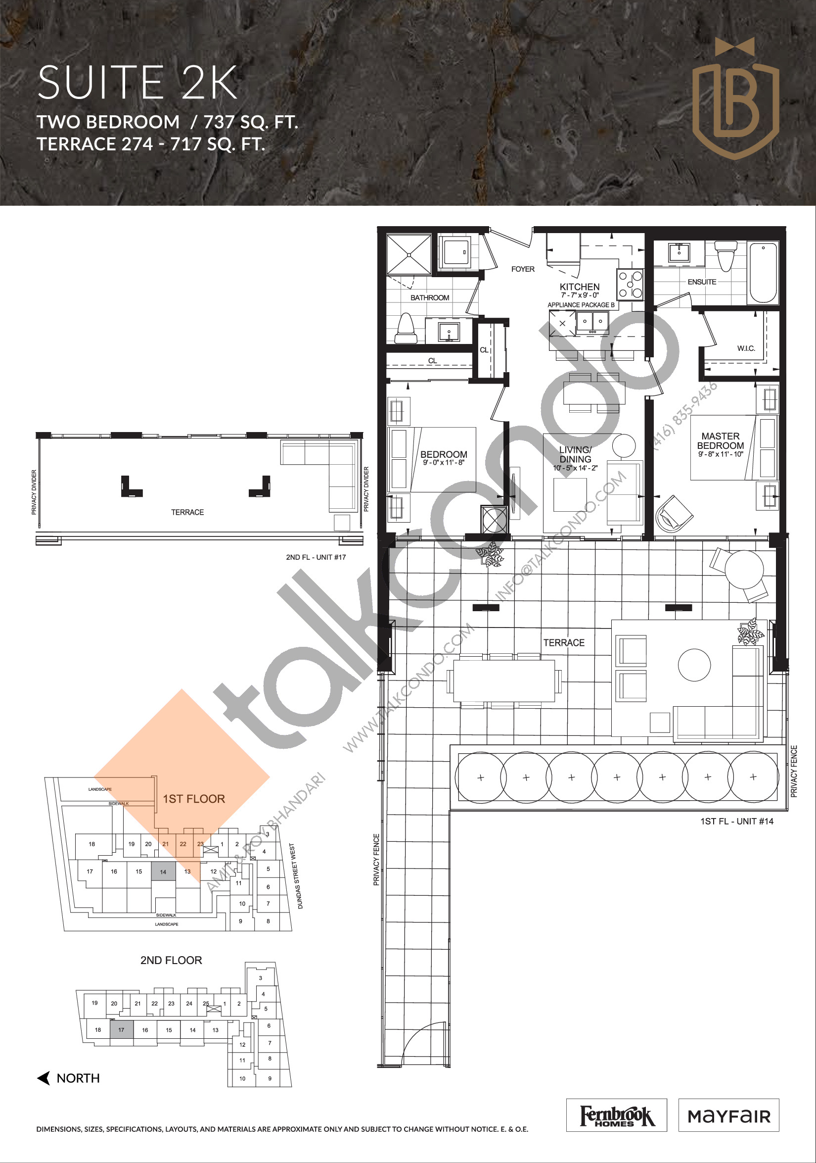 Suite 2K (Terrace) Floor Plan at The Butler Condos - 737 sq.ft