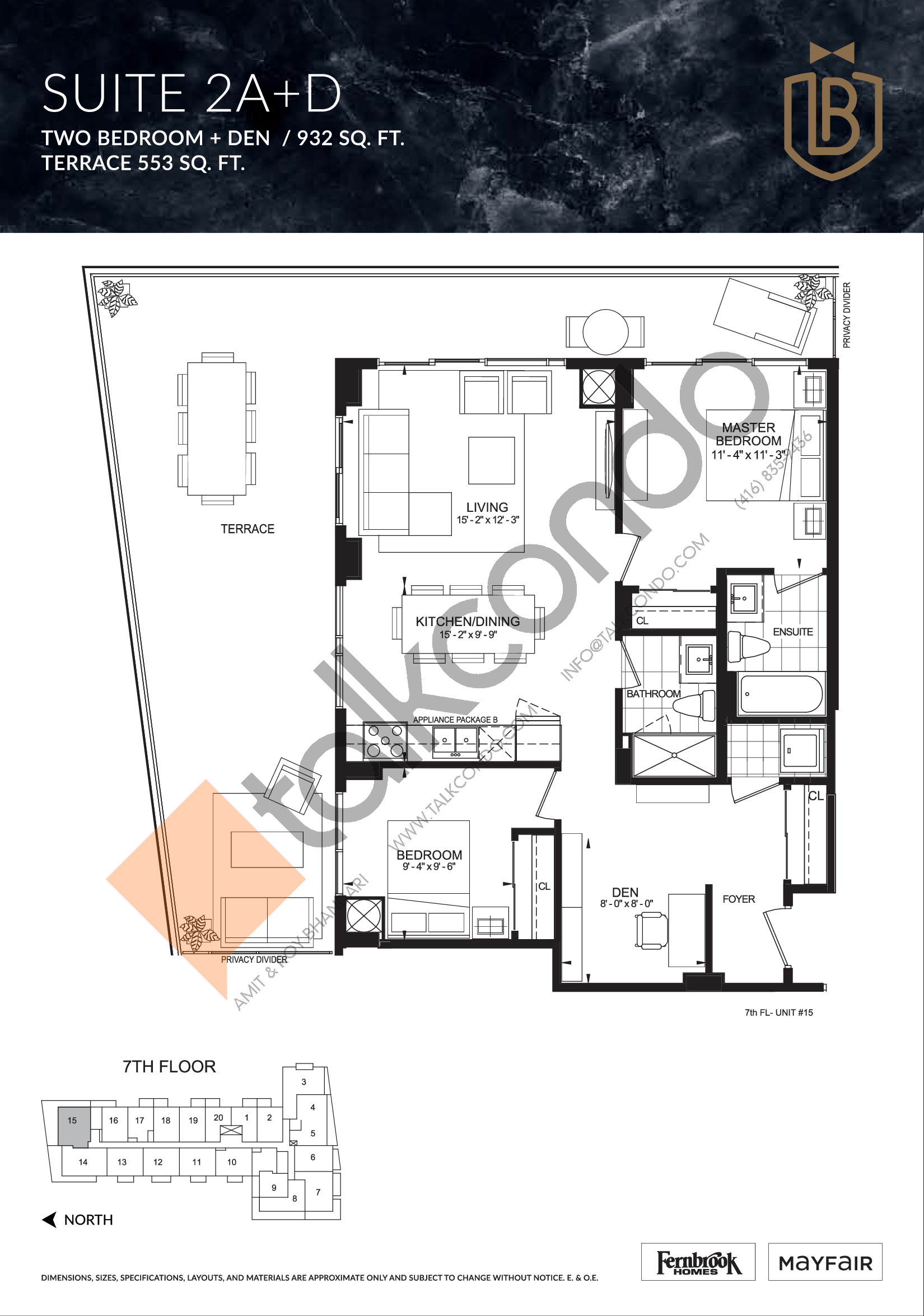 Suite 2A+D (Terrace) Floor Plan at The Butler Condos - 932 sq.ft
