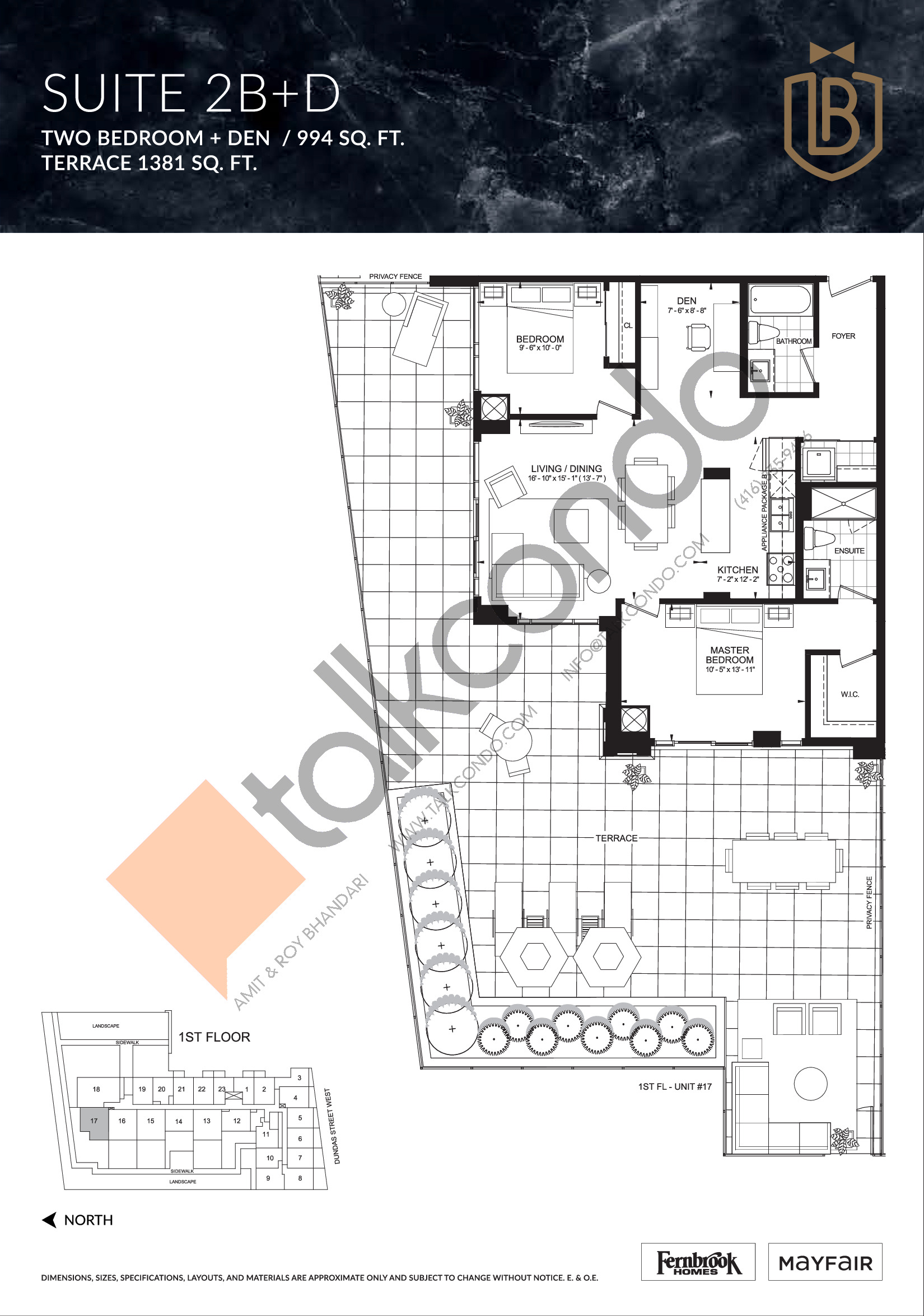 Suite 2B+D (Terrace) Floor Plan at The Butler Condos - 994 sq.ft