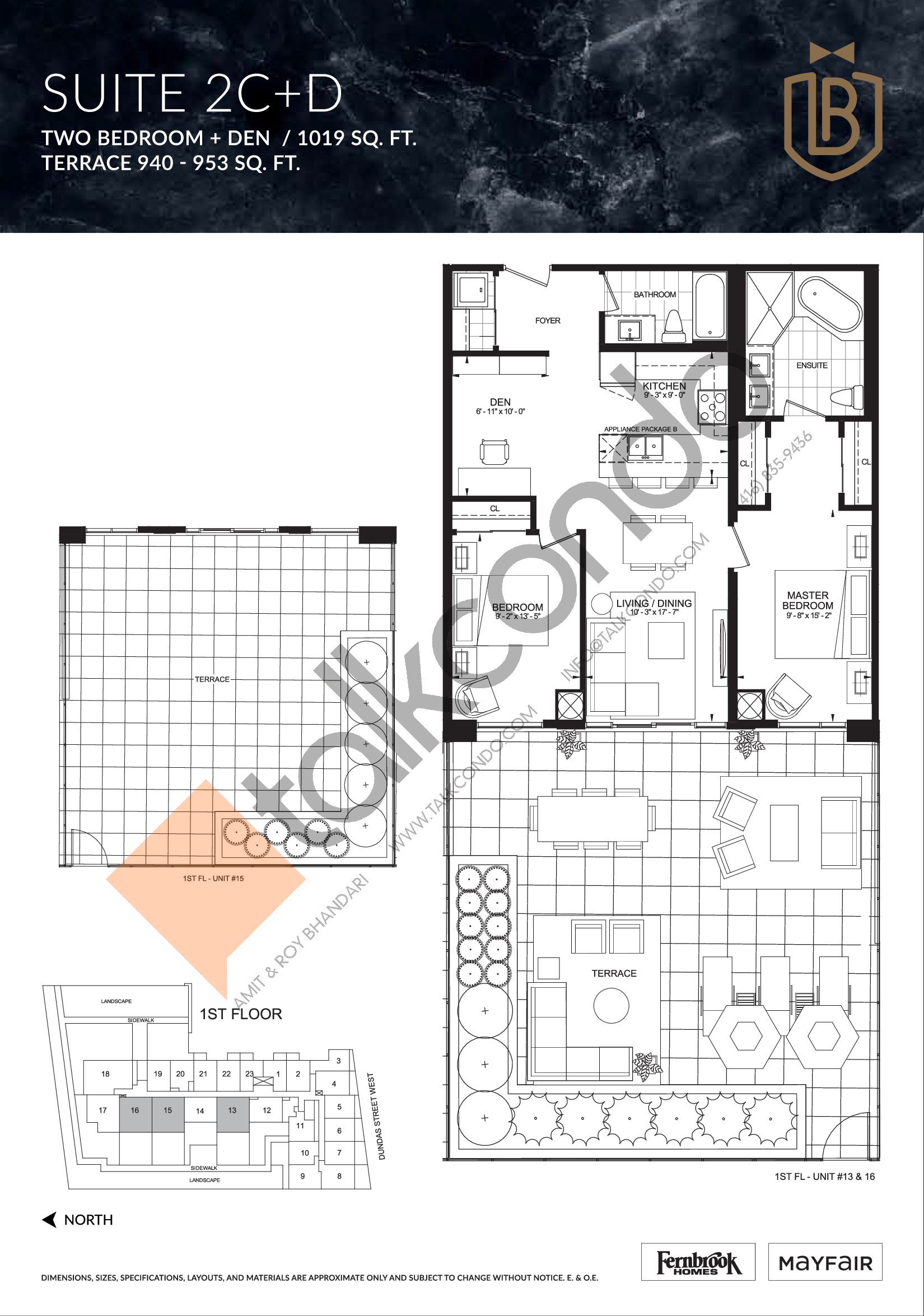 Suite 2C+D (Terrace) Floor Plan at The Butler Condos - 1019 sq.ft