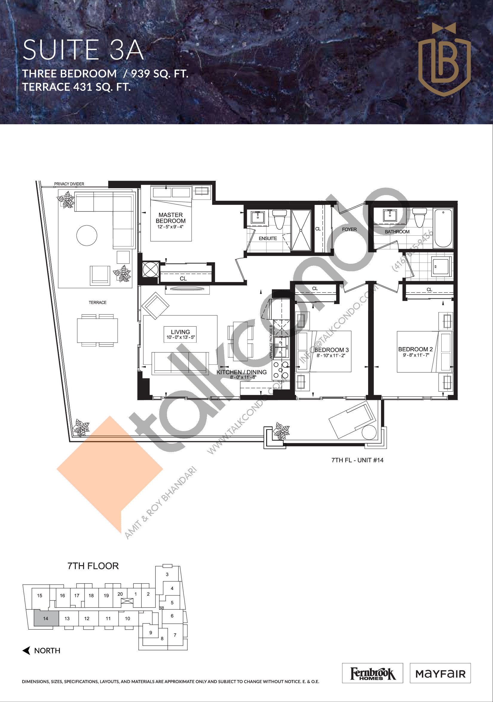 Suite 3A (Terrace) Floor Plan at The Butler Condos - 939 sq.ft