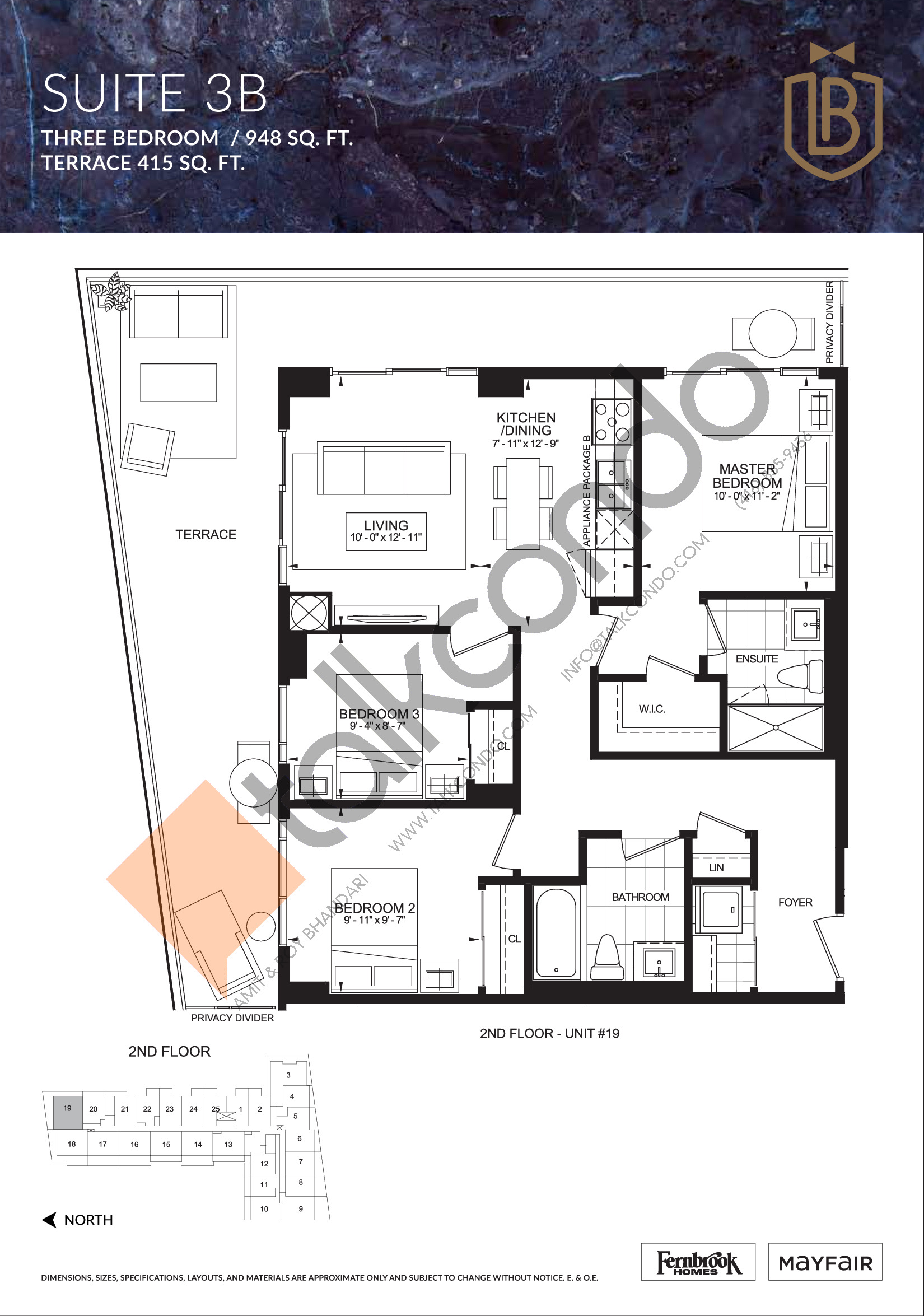 Suite 3B (Terrace) Floor Plan at The Butler Condos - 948 sq.ft