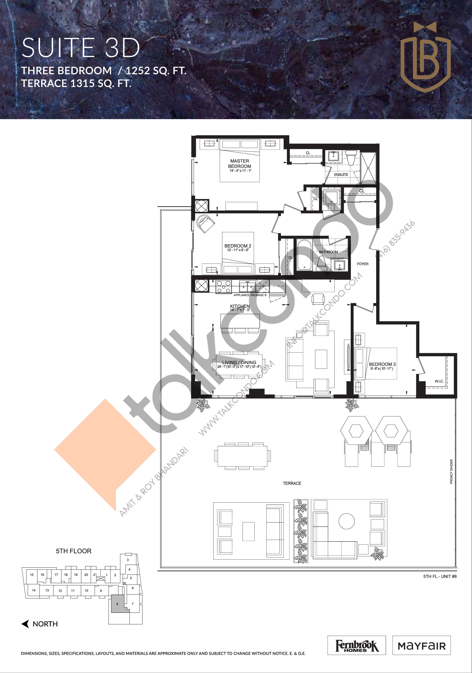 Suite 3D (Terrace) Floor Plan at The Butler Condos - 1252 sq.ft