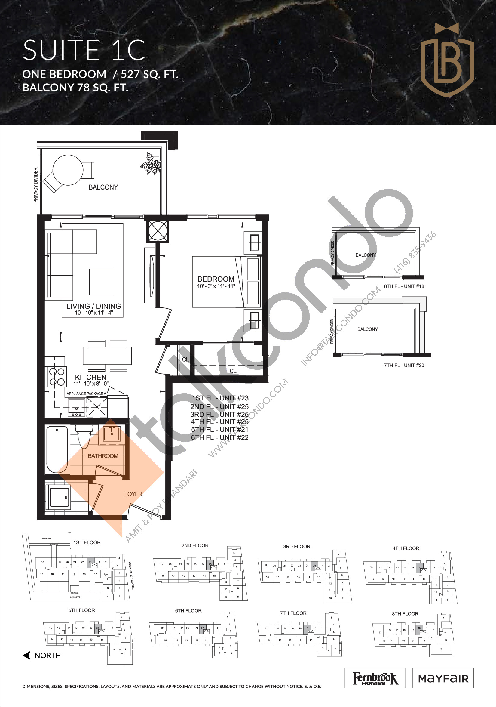 Suite 1C Floor Plan at The Butler Condos - 527 sq.ft