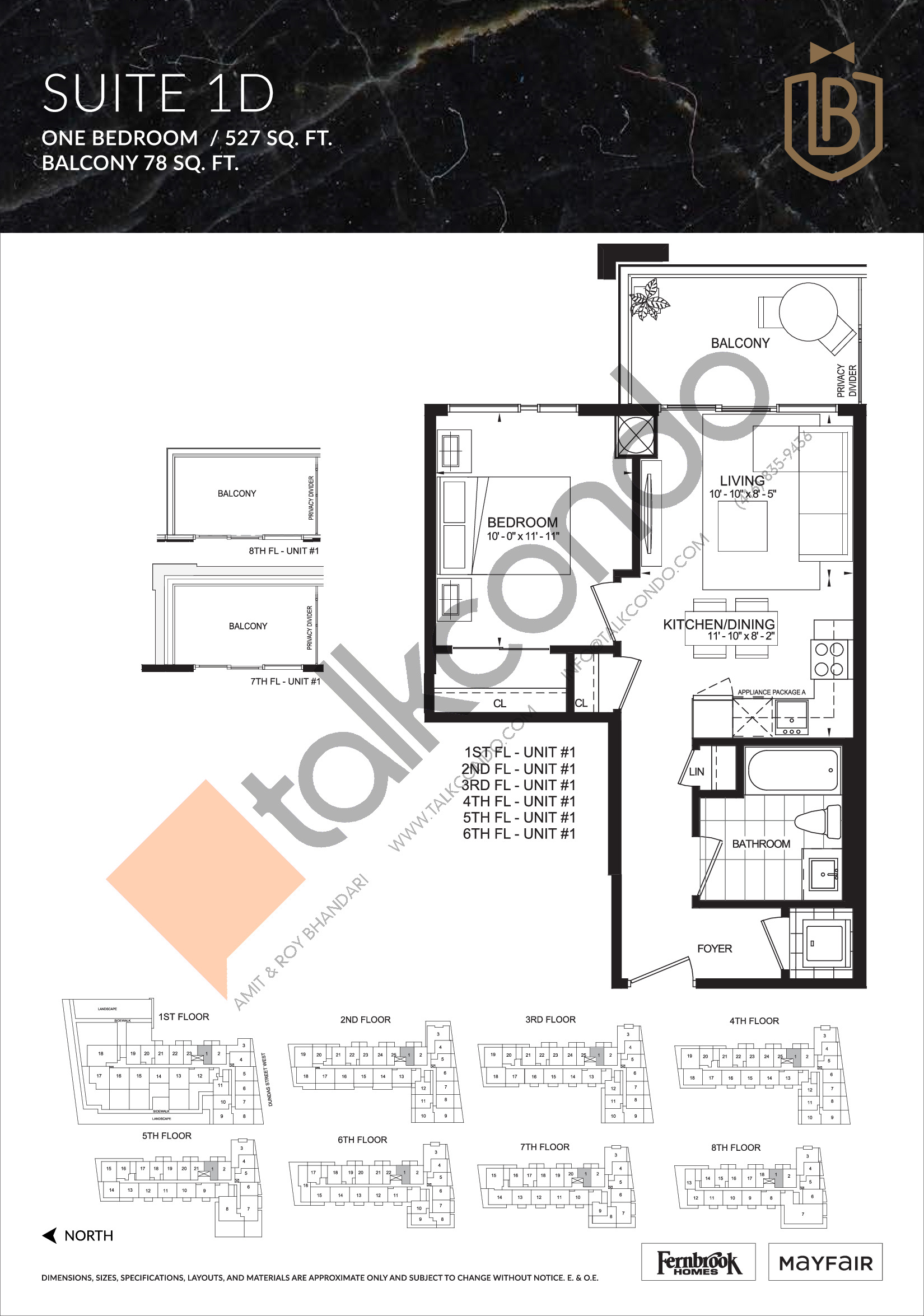 Suite 1D Floor Plan at The Butler Condos - 527 sq.ft