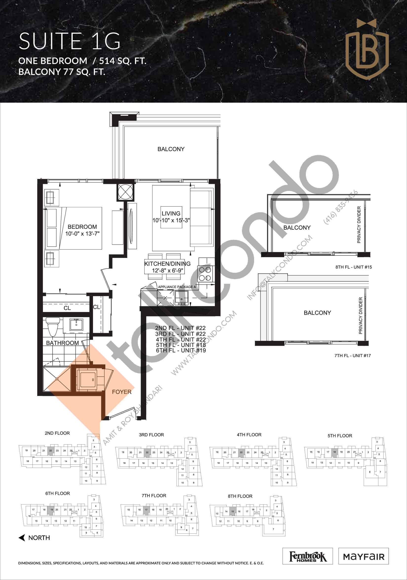 Suite 1G Floor Plan at The Butler Condos - 514 sq.ft