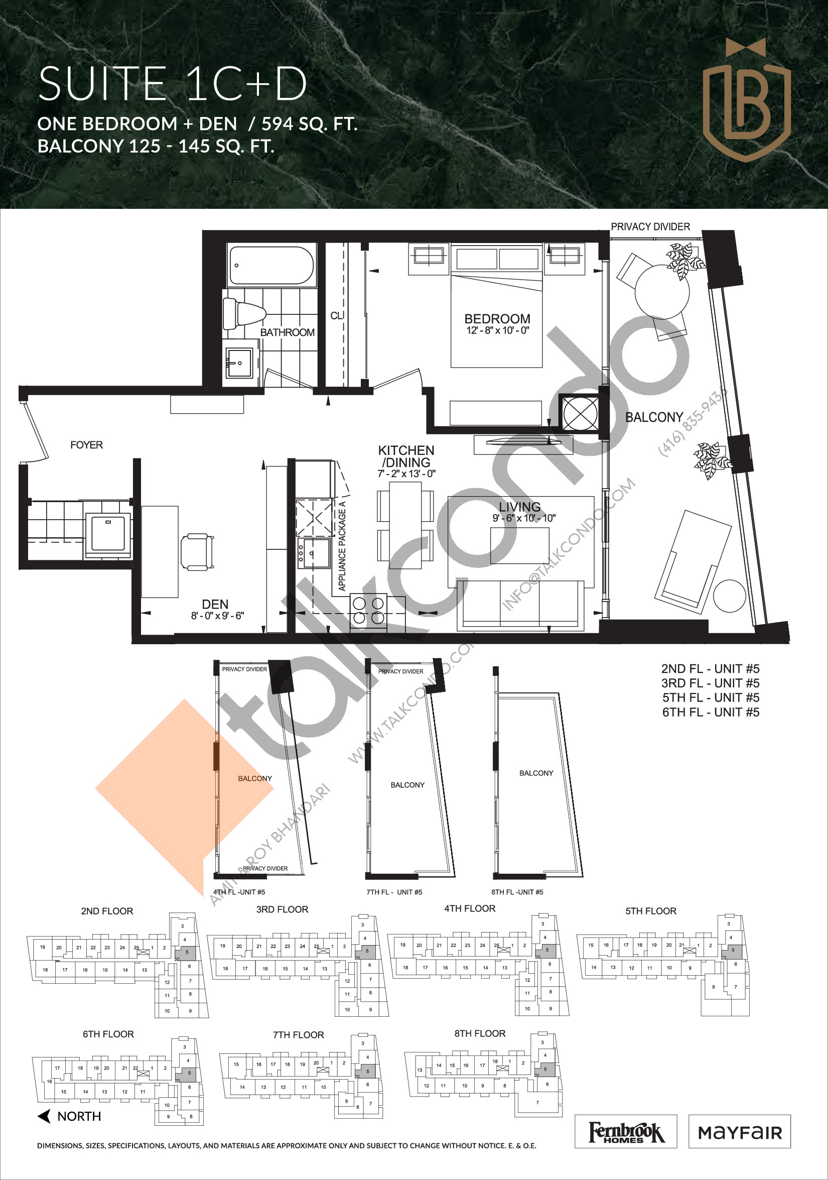 Suite 1C+D Floor Plan at The Butler Condos - 594 sq.ft