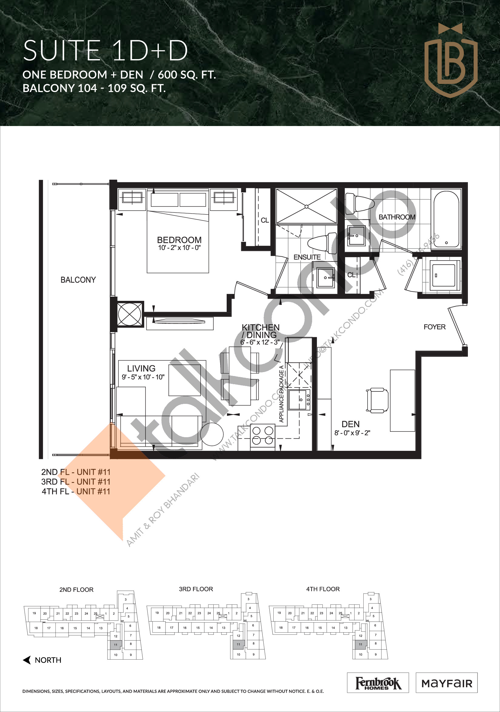 Suite 1D+D Floor Plan at The Butler Condos - 600 sq.ft