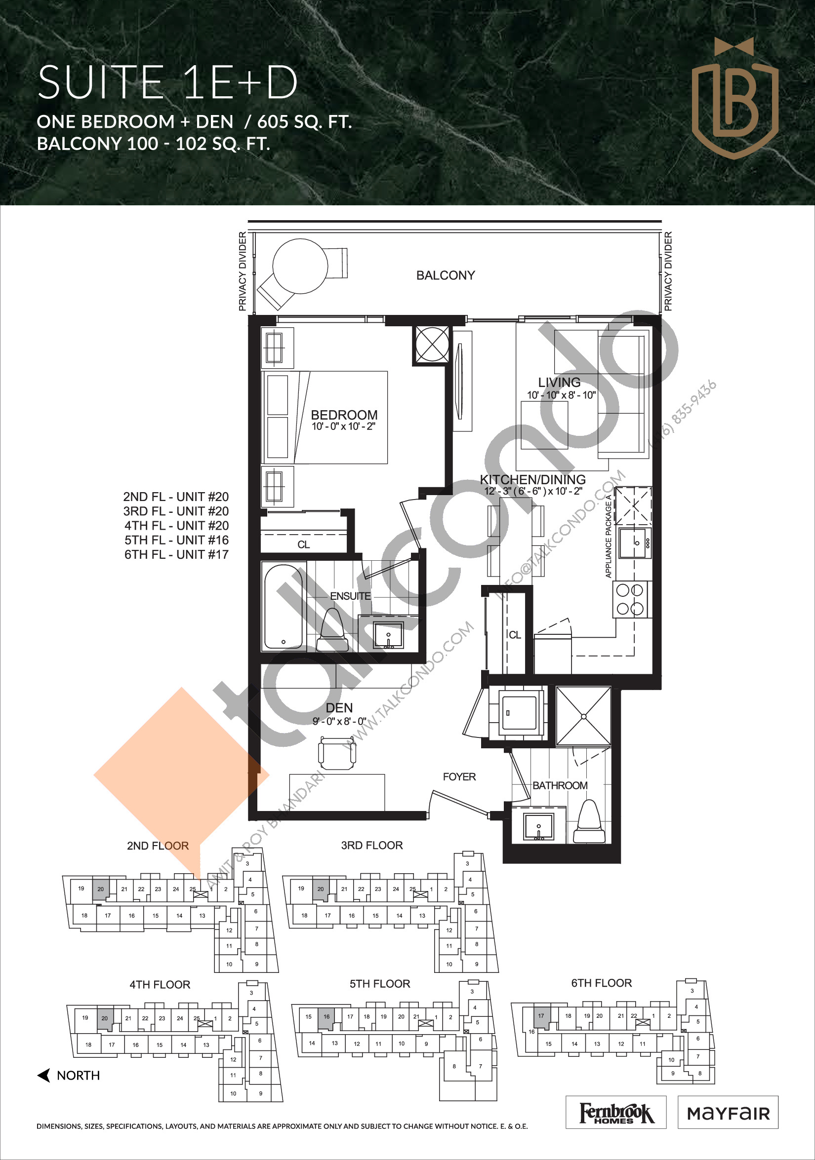 Suite 1E+D Floor Plan at The Butler Condos - 605 sq.ft