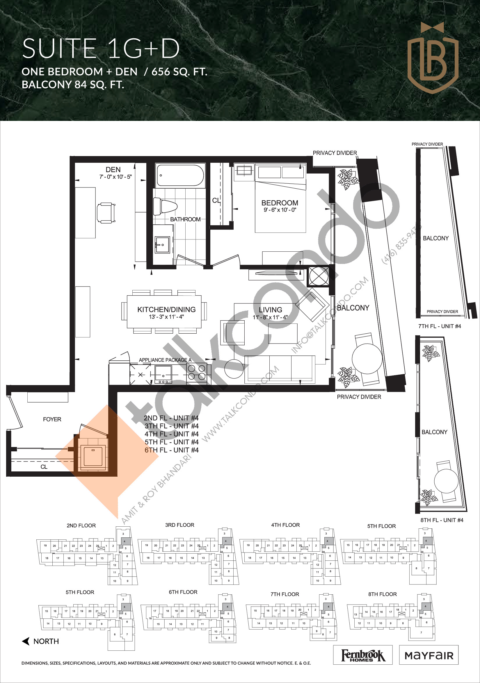 Suite 1G+D Floor Plan at The Butler Condos - 656 sq.ft