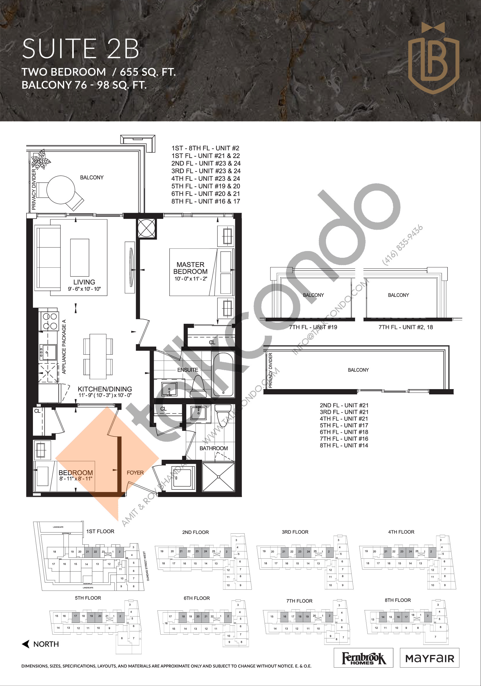 Suite 2B Floor Plan at The Butler Condos - 655 sq.ft