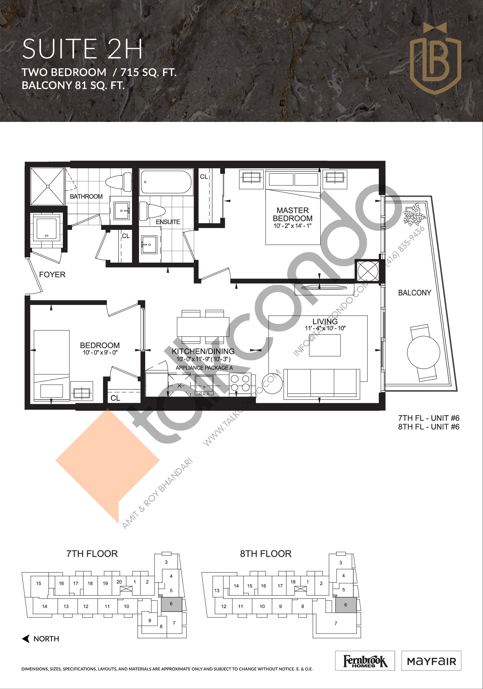 Suite 2H Floor Plan at The Butler Condos - 715 sq.ft