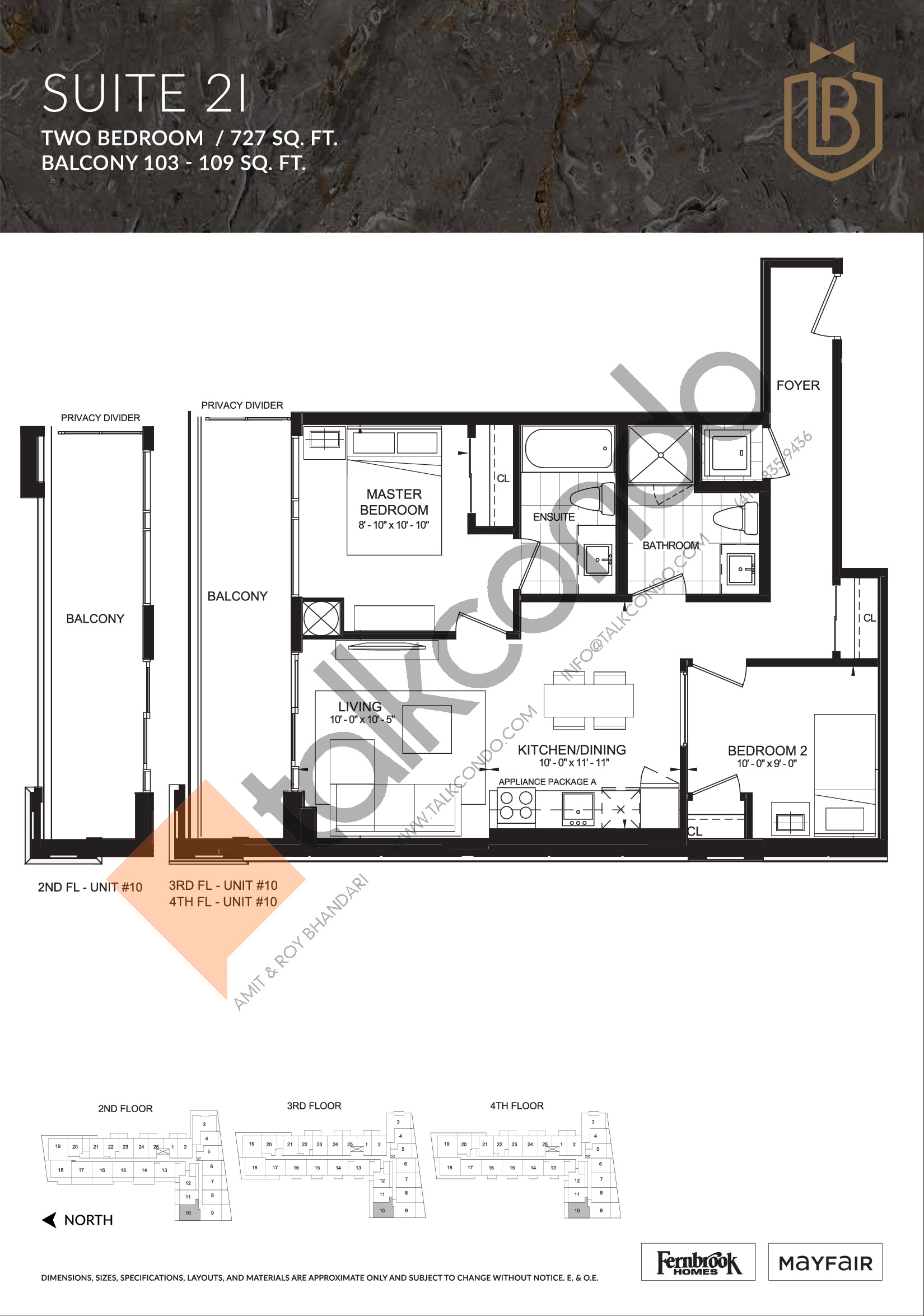 Suite 2I Floor Plan at The Butler Condos - 727 sq.ft