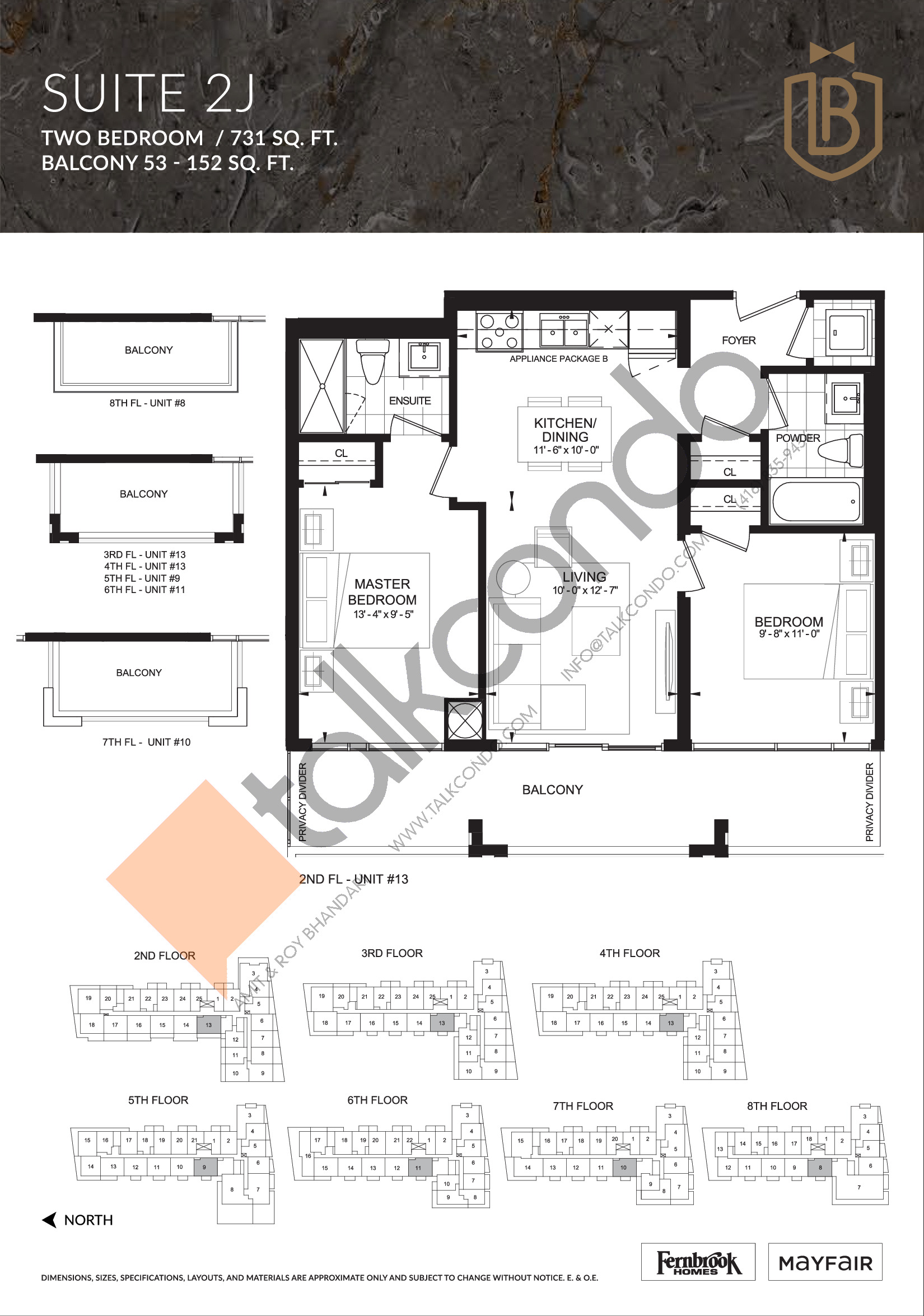 Suite 2J Floor Plan at The Butler Condos - 731 sq.ft