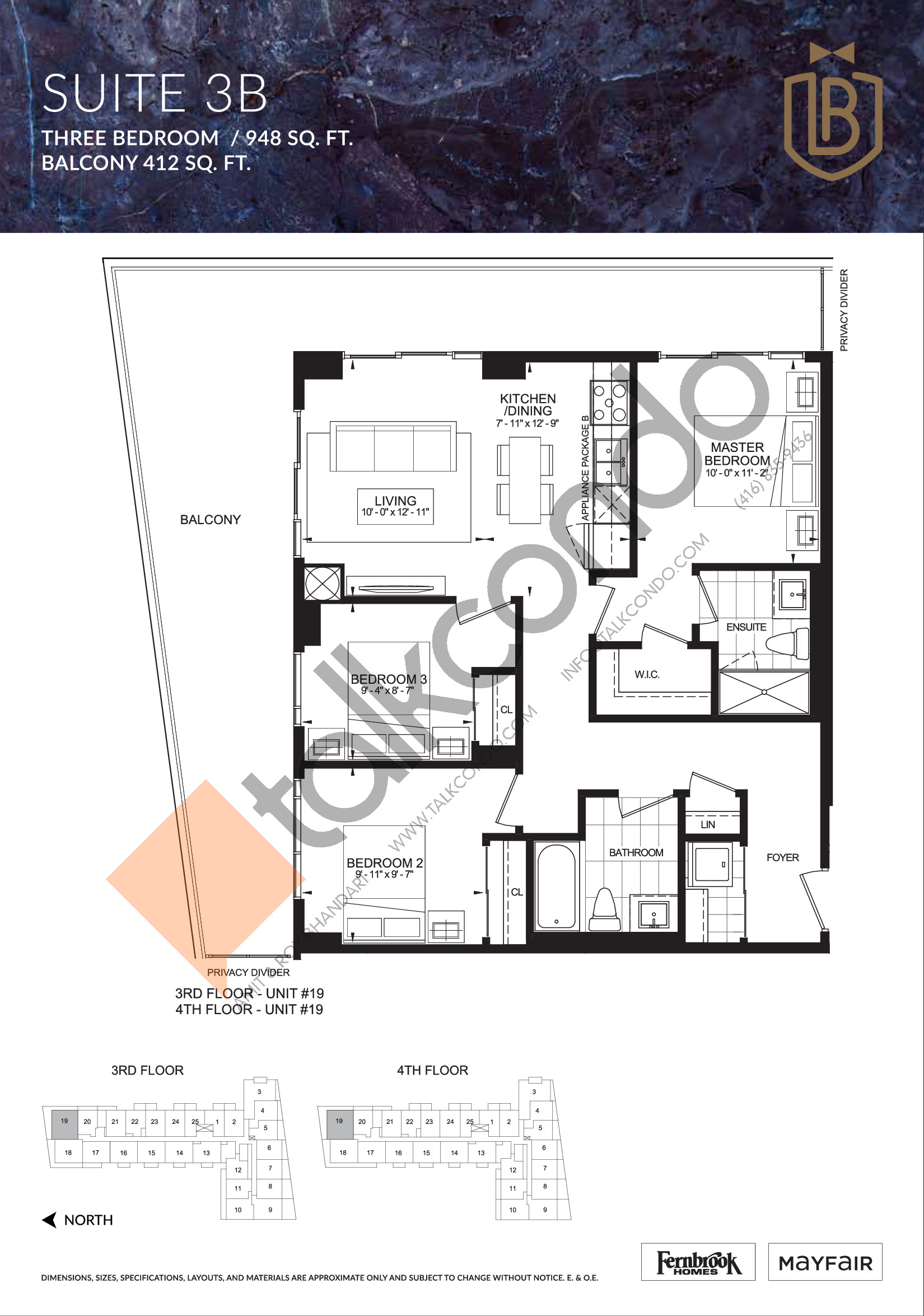 Suite 3B Floor Plan at The Butler Condos - 948 sq.ft