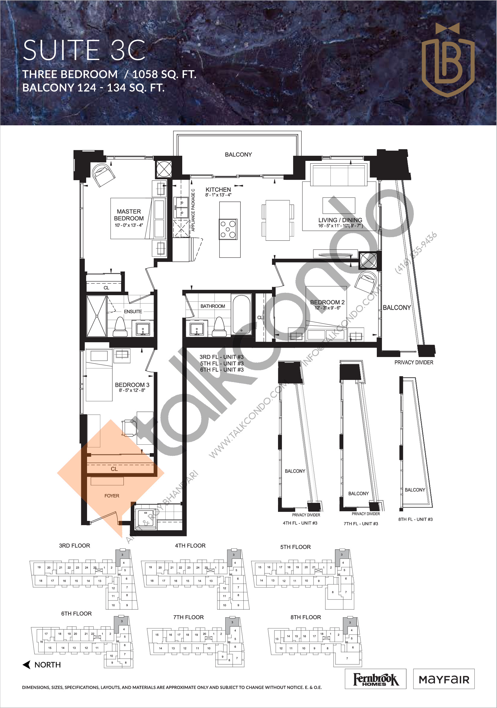 Suite 3C Floor Plan at The Butler Condos - 1058 sq.ft