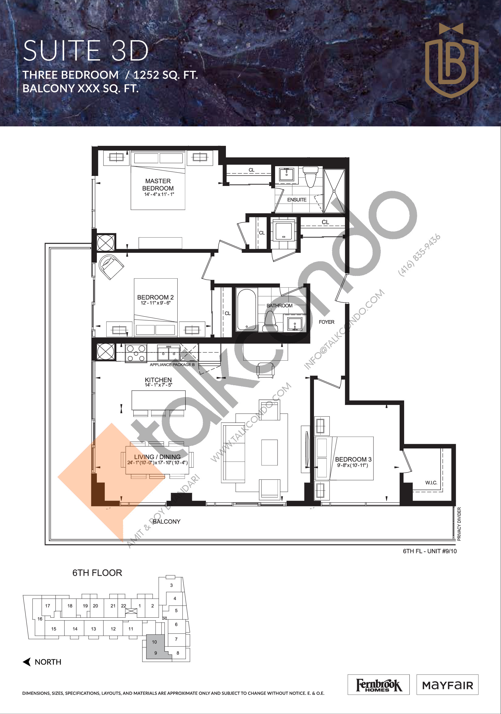 Suite 3D Floor Plan at The Butler Condos - 1252 sq.ft
