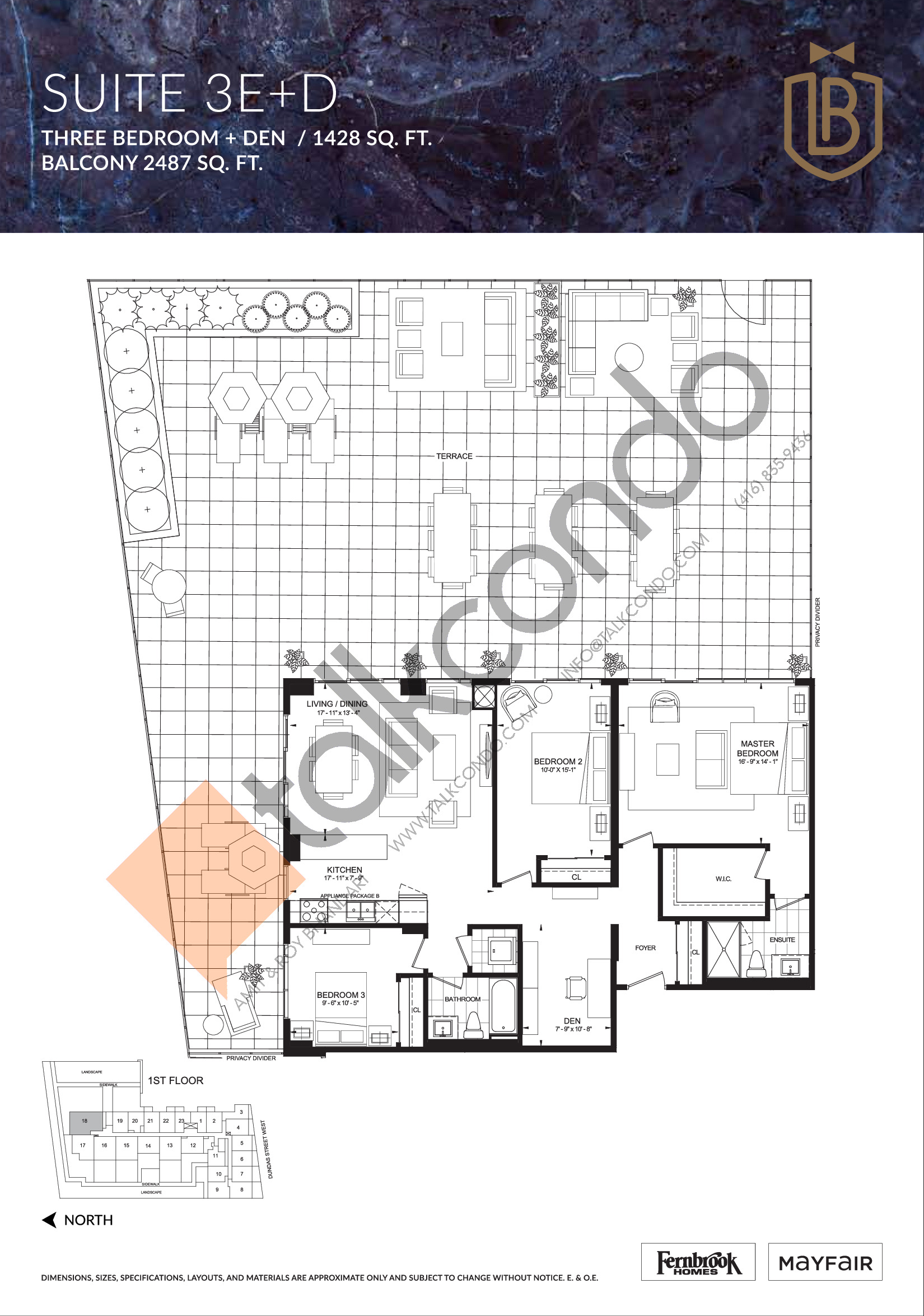 Suite 3E+D Floor Plan at The Butler Condos - 1428 sq.ft