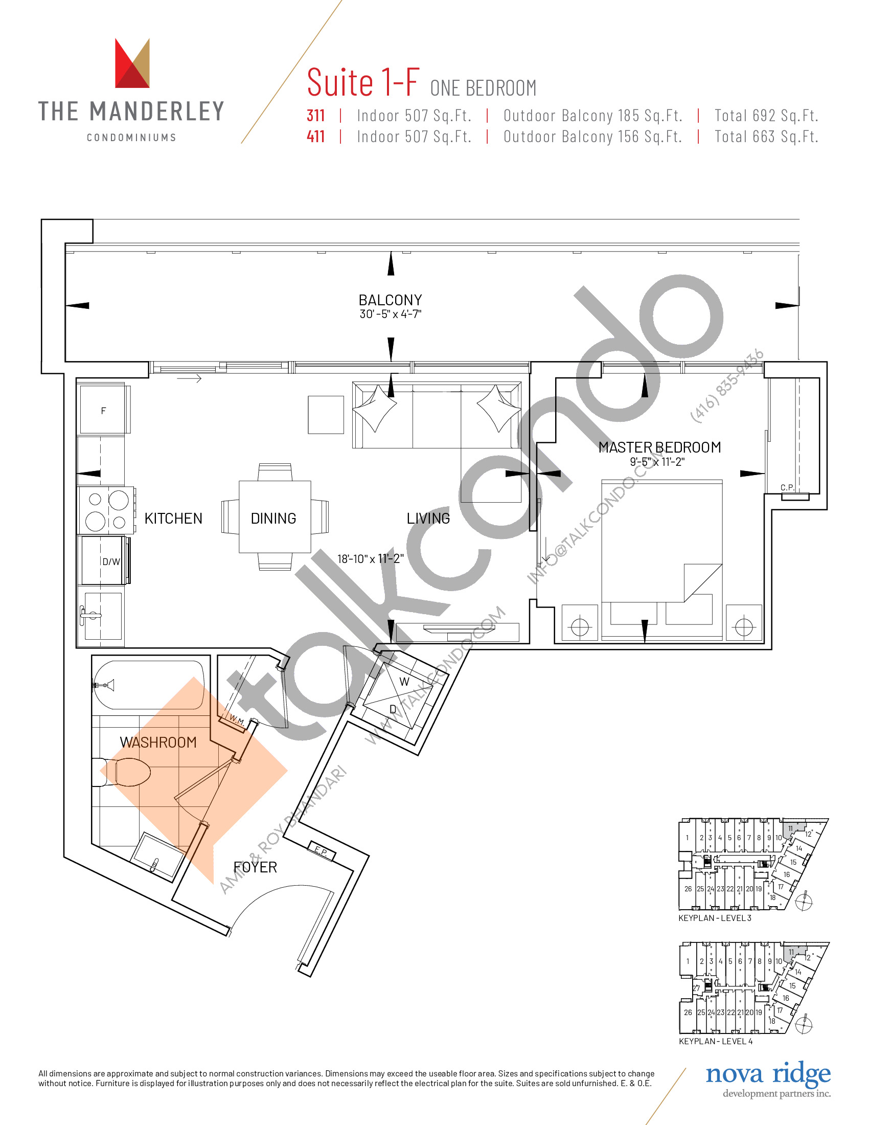 Suite 1-F Floor Plan at The Manderley Condos - 507 sq.ft