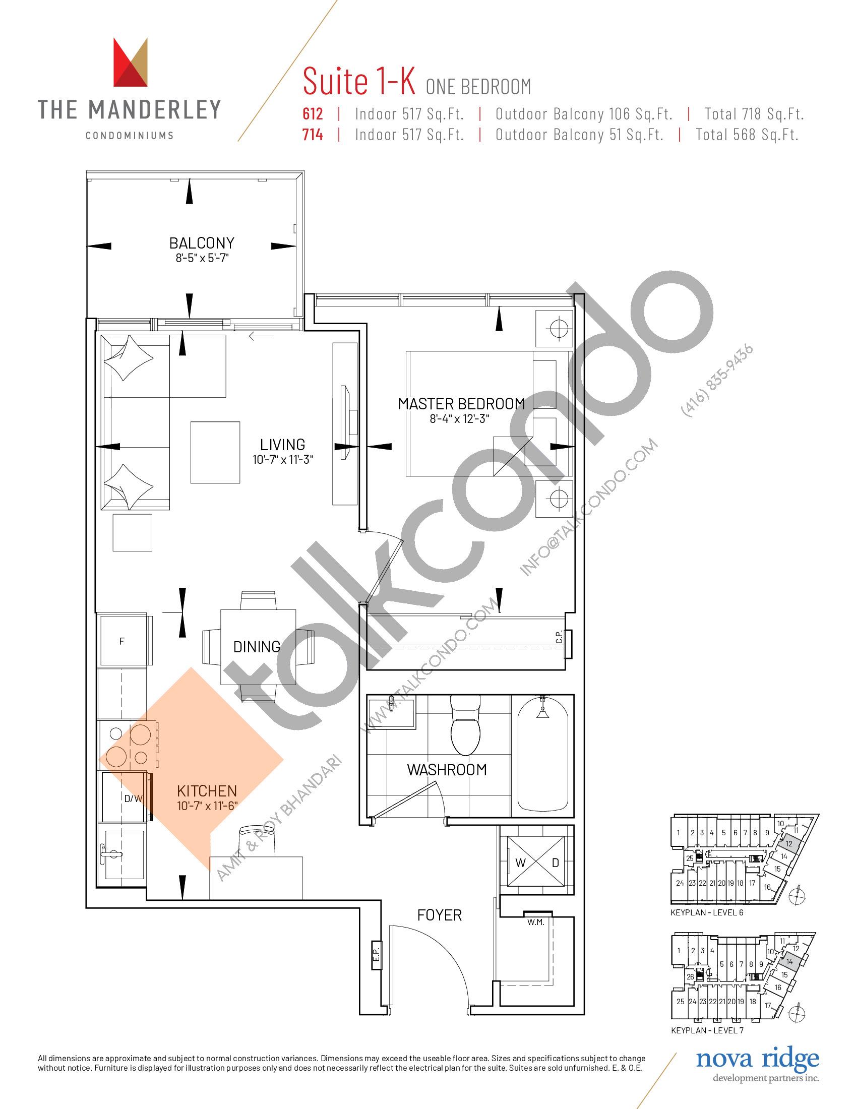 Suite 1-K Floor Plan at The Manderley Condos - 517 sq.ft