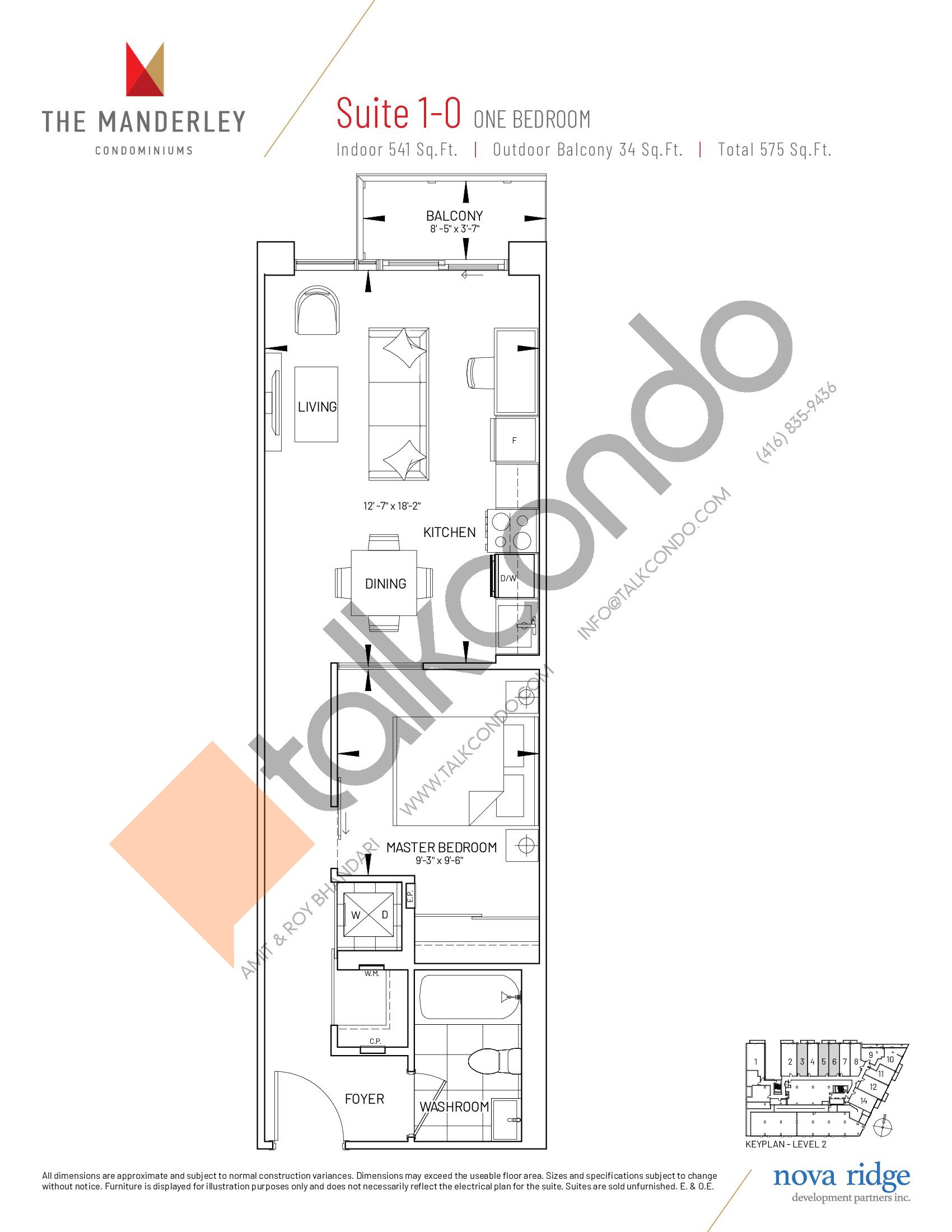 Suite 1-O Floor Plan at The Manderley Condos - 541 sq.ft
